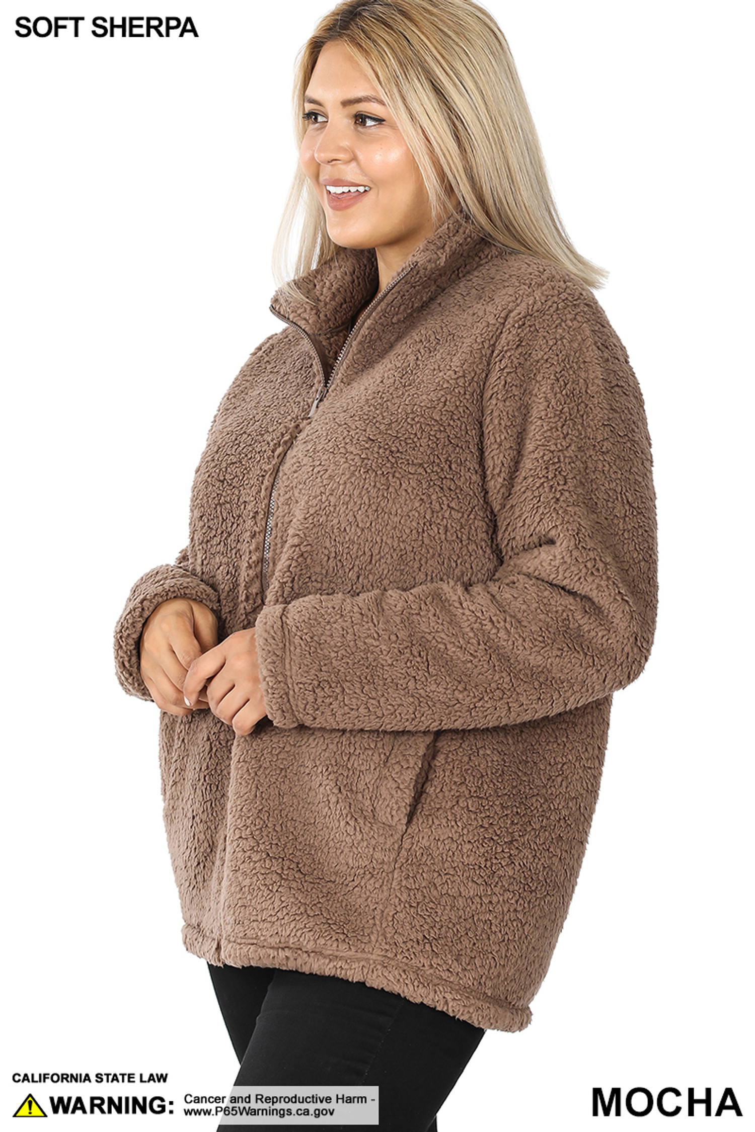 45 degree left side image of Mocha Sherpa Zip Up Plus Size Jacket with Side Pockets