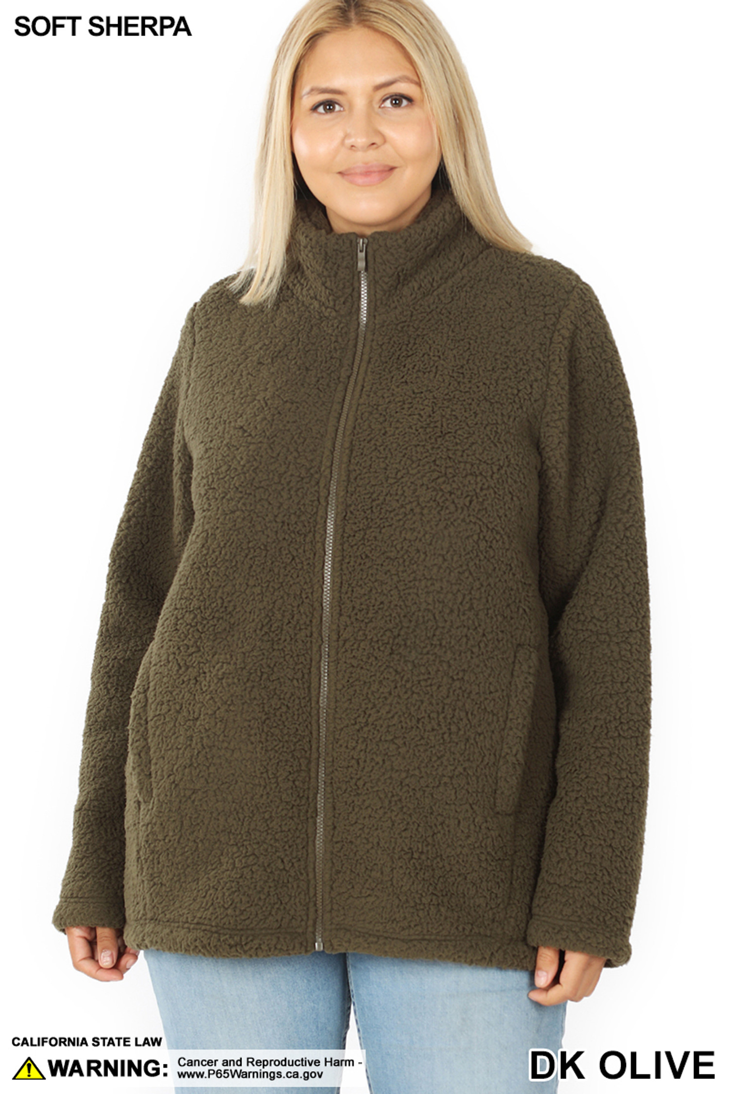 Front image of Dark Olive Sherpa Zip Up Plus Size Jacket with Side Pockets