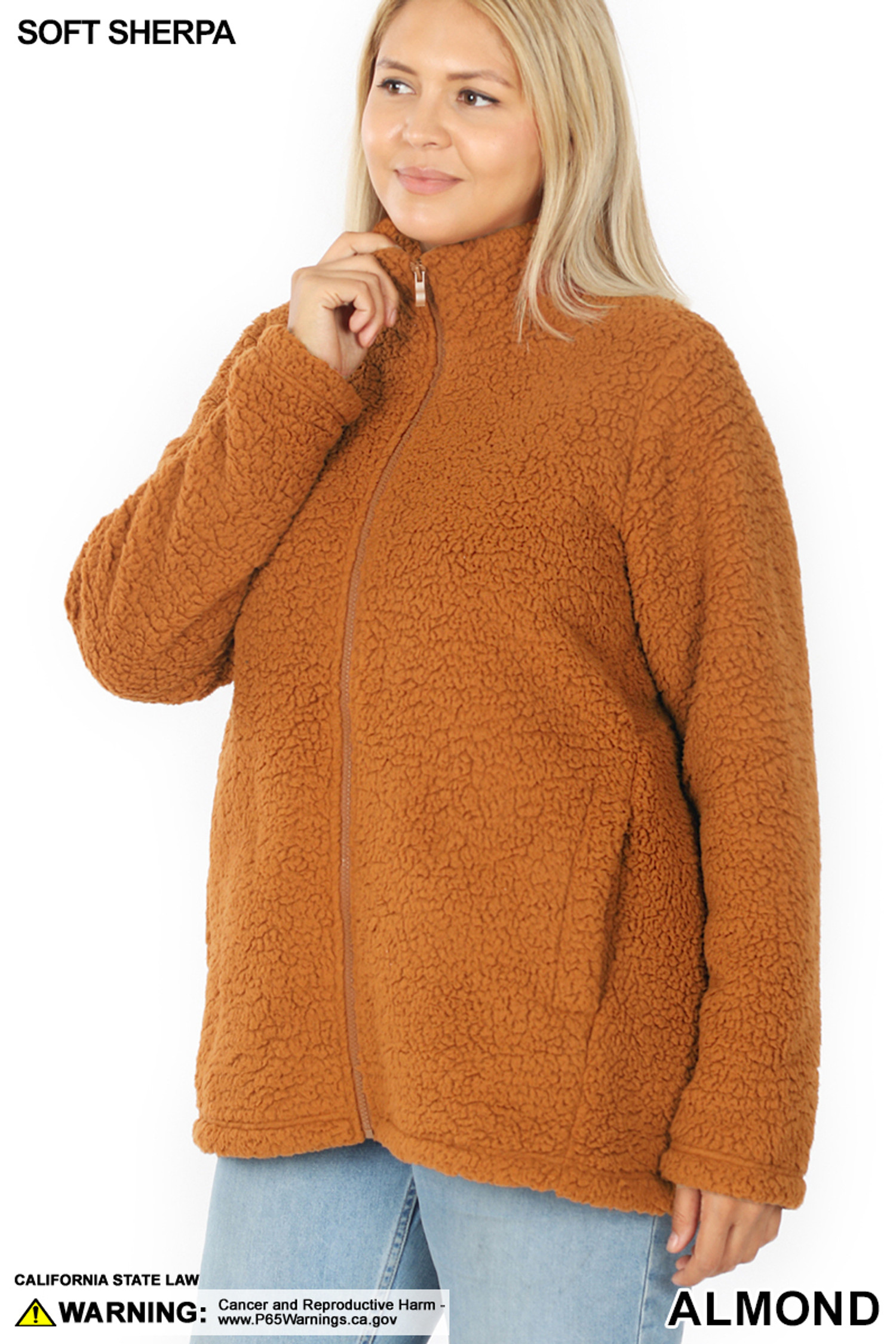 Front image of Almond Sherpa Zip Up Plus Size Jacket with Side Pockets