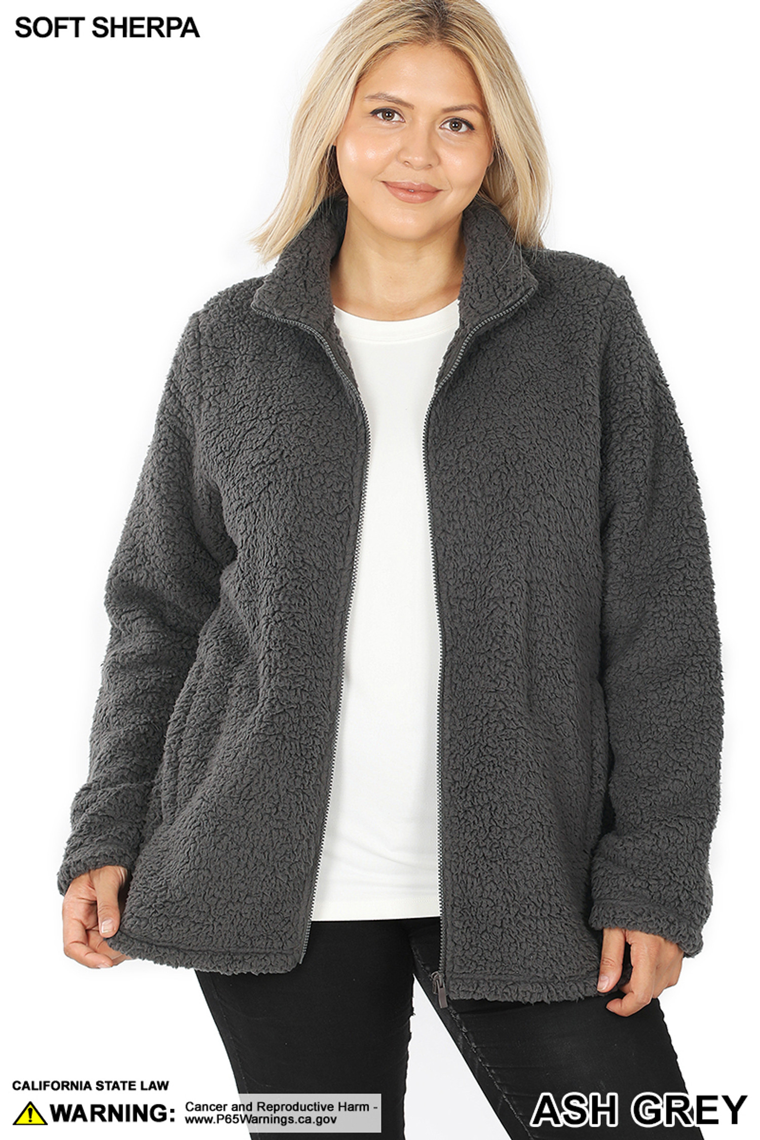 Front unzipped image of Ash Grey Sherpa Zip Up Plus Size Jacket with Side Pockets