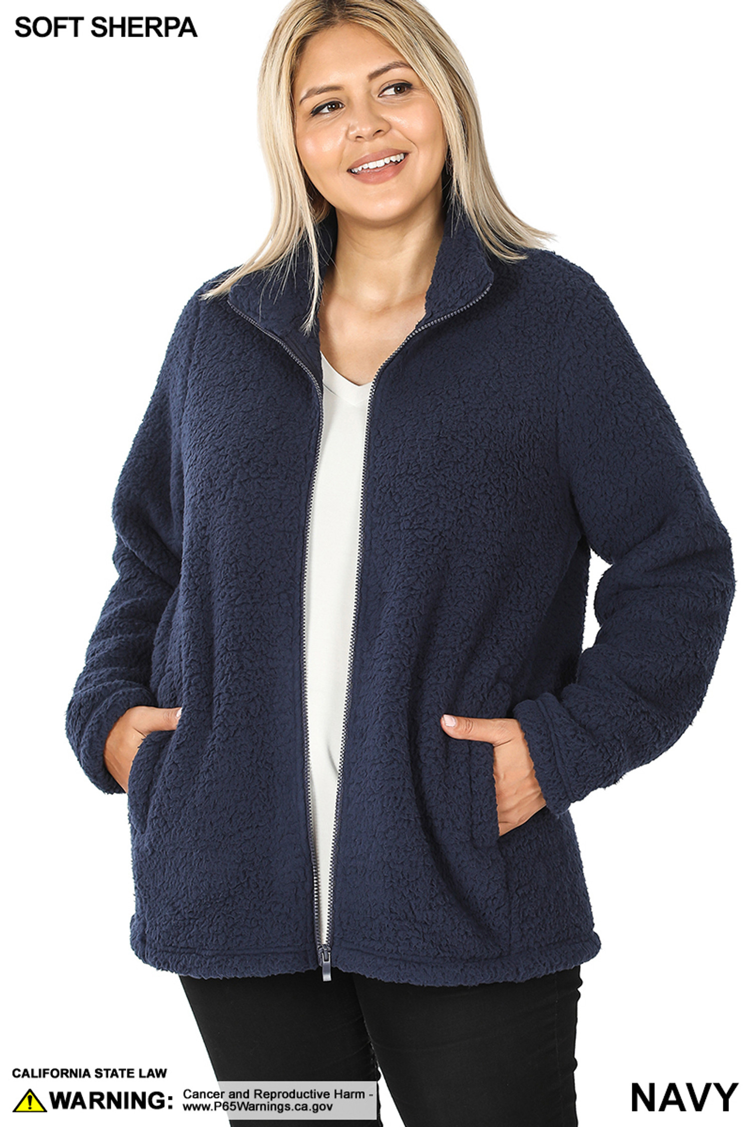 Front unzipped image of Navy Sherpa Zip Up Plus Size Jacket with Side Pockets