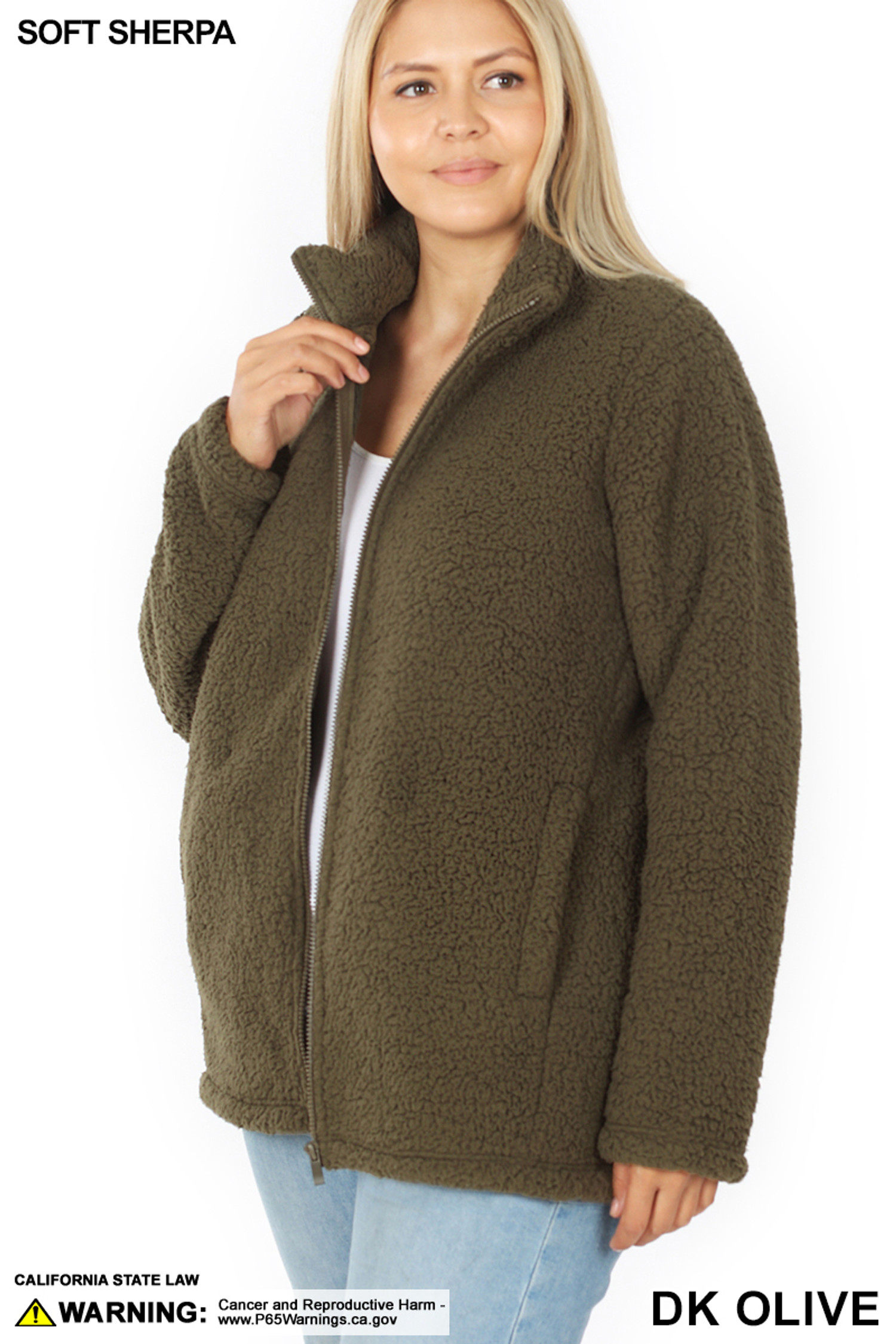 45 degree unzipped image of Dark Olive Sherpa Zip Up Plus Size Jacket with Side Pockets