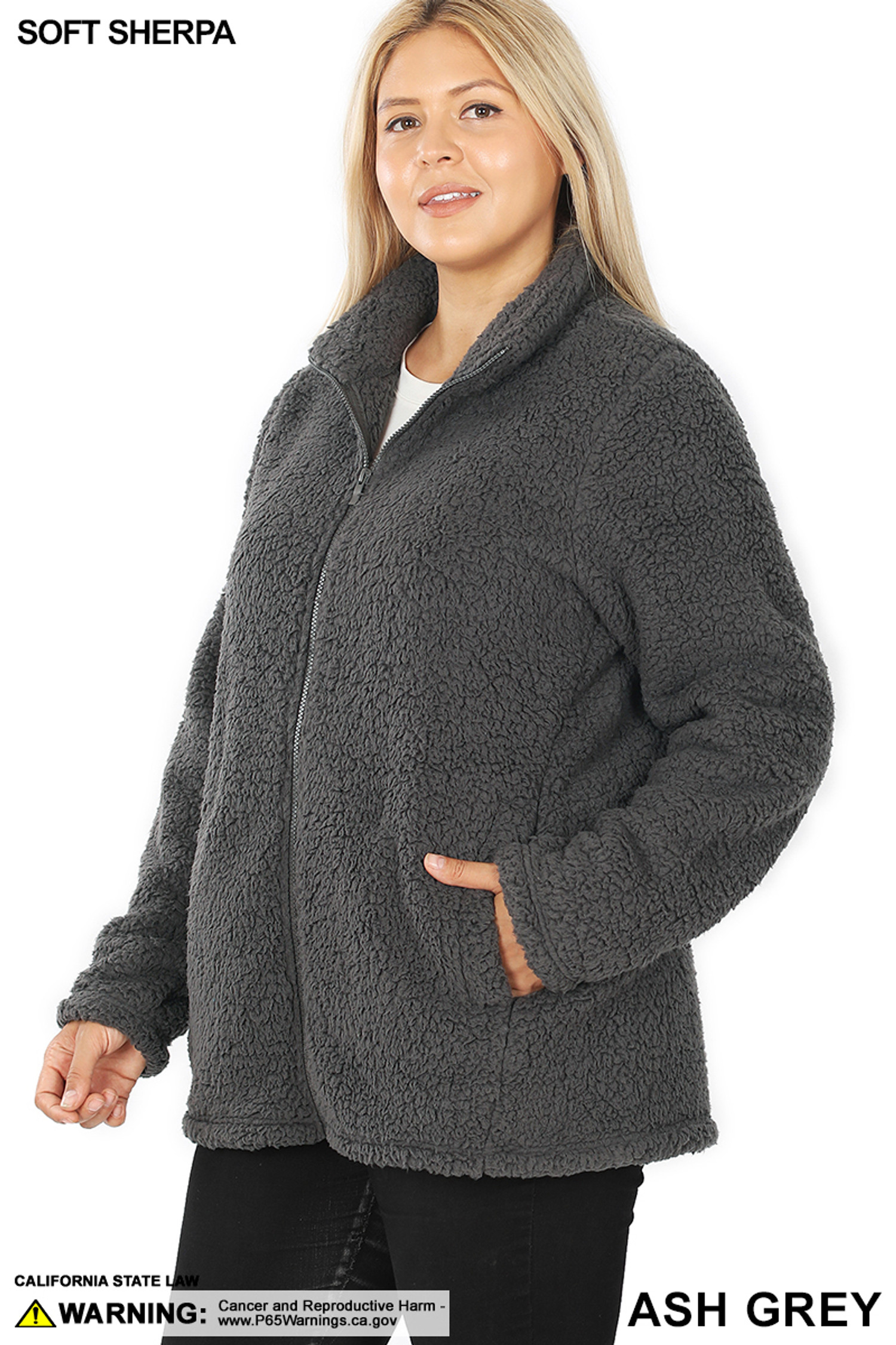 45 degree image of Ash Grey Sherpa Zip Up Plus Size Jacket with Side Pockets