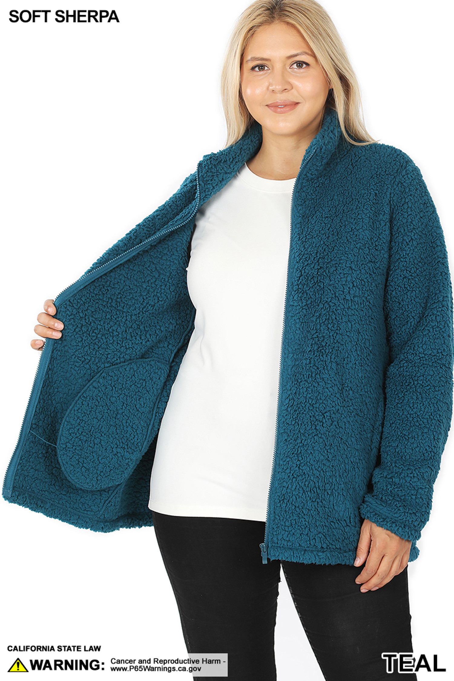 Front image of Teal Sherpa Zip Up Plus Size Jacket with Side Pockets unzipped and held open to show the inside
