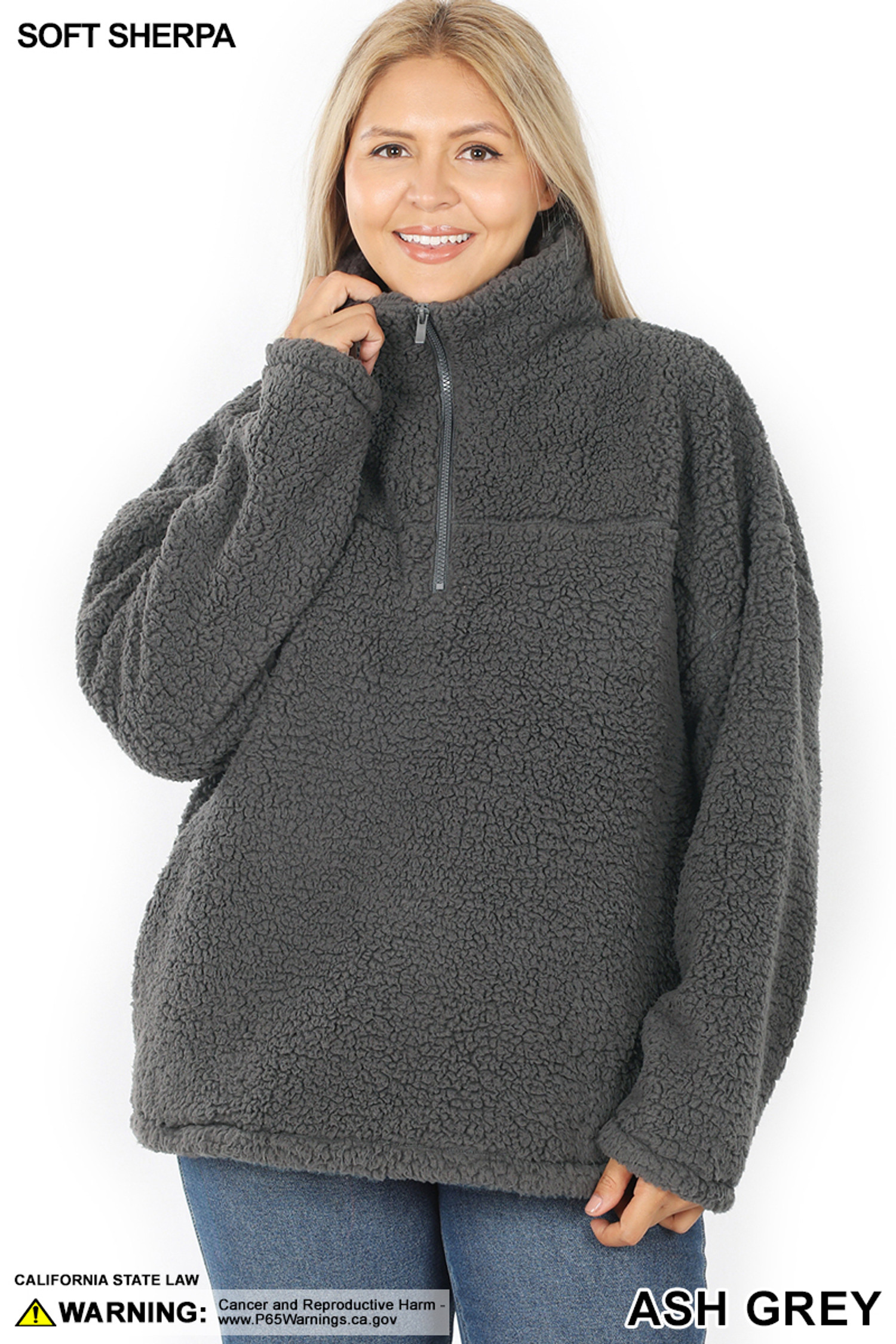 Front of Ash Grey Sherpa Half Zip Plus Size Pullover with Side Pockets