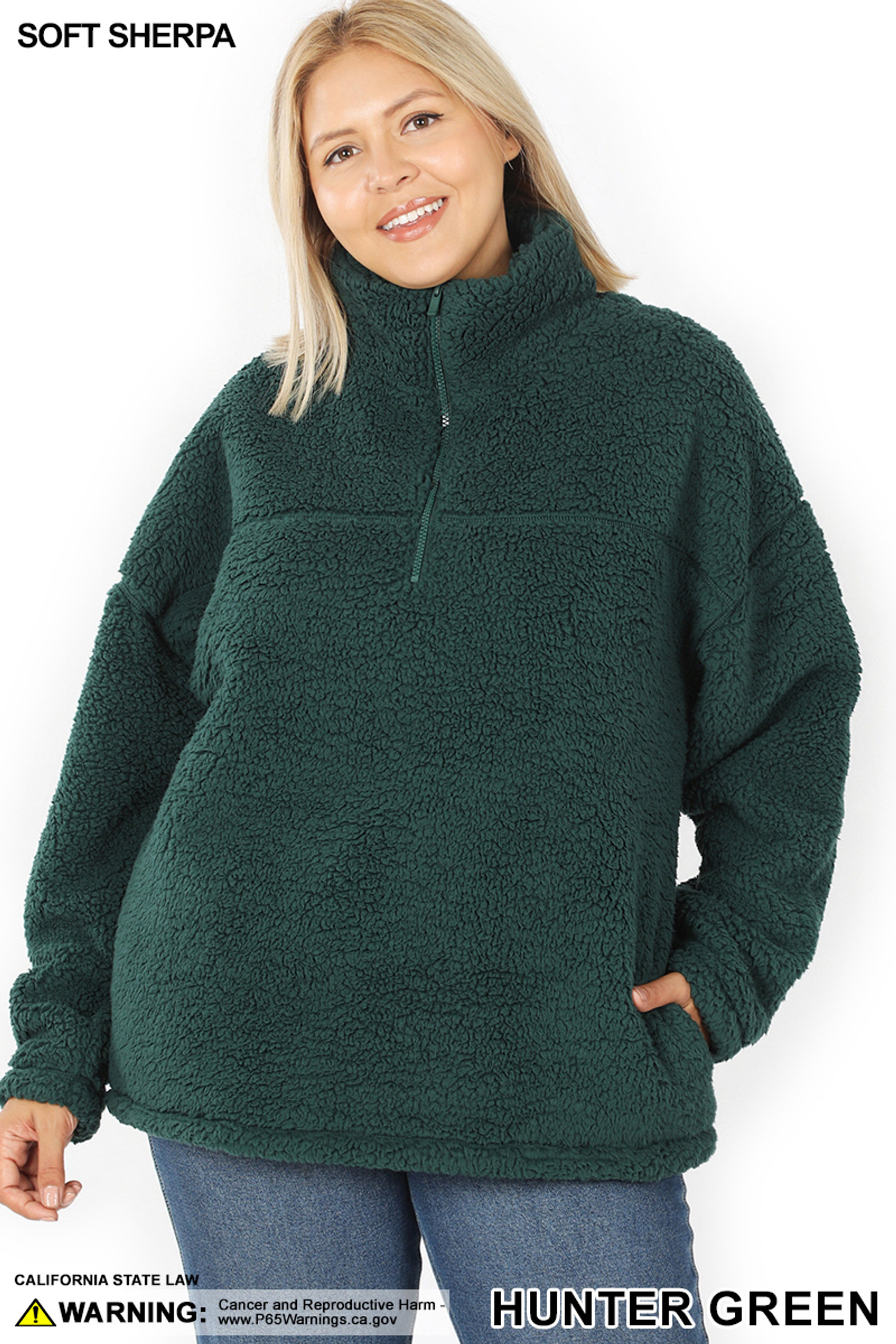 Front of Hunter Sherpa Half Zip Plus Size Pullover with Side Pockets