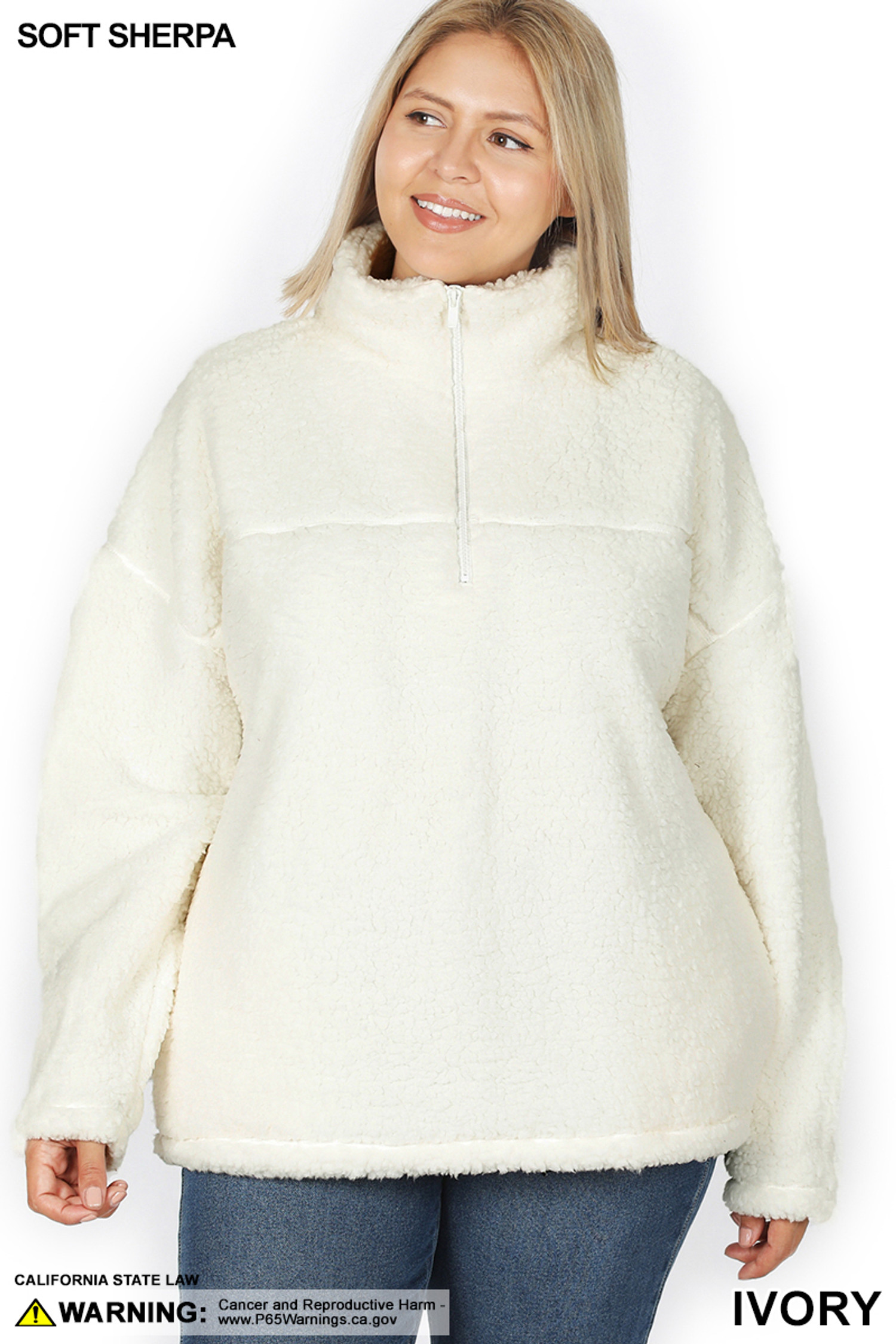 Front of Ivory Sherpa Half Zip Plus Size Pullover with Side Pockets