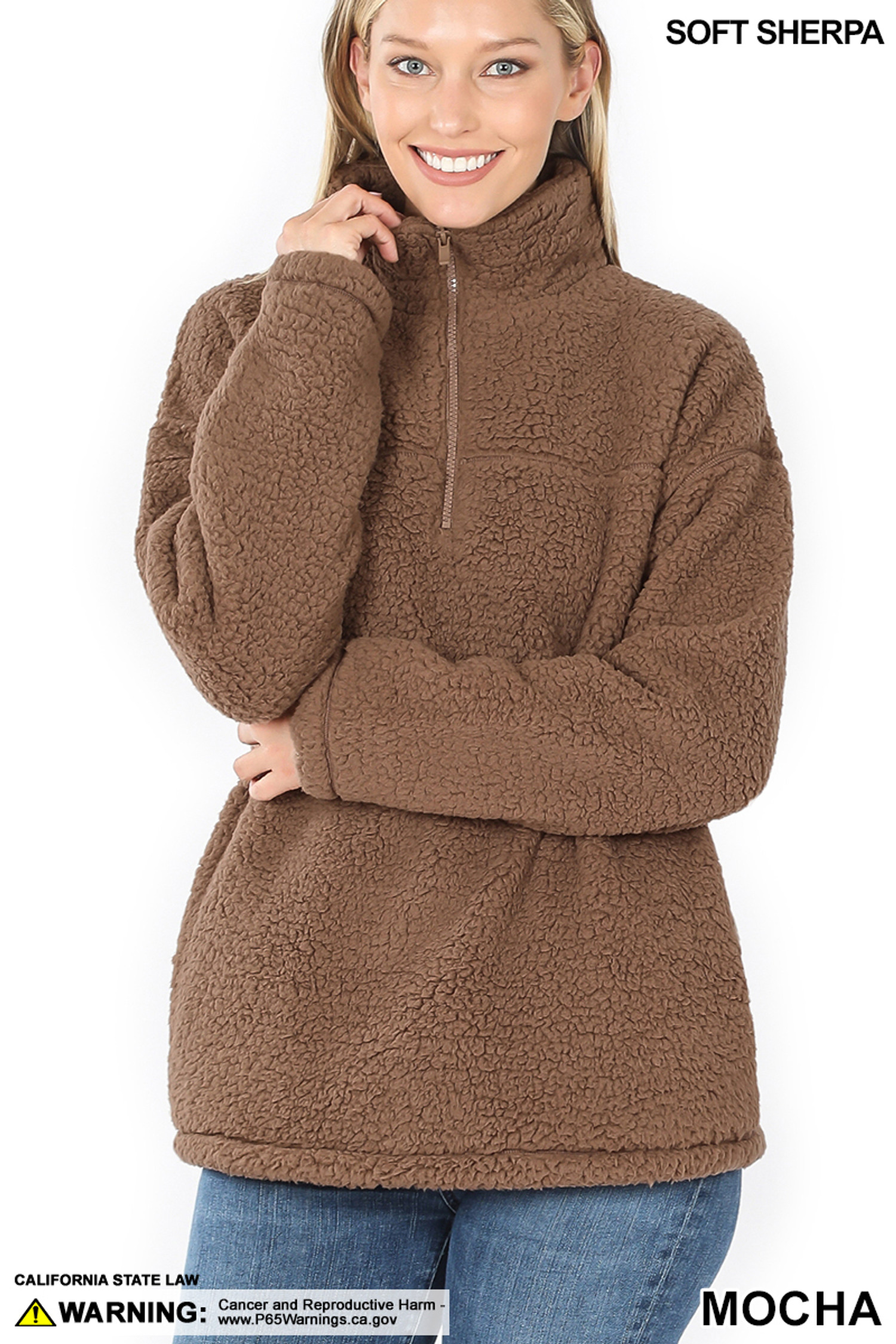 Front image of Mocha Sherpa Half Zip Pullover with Side Pockets