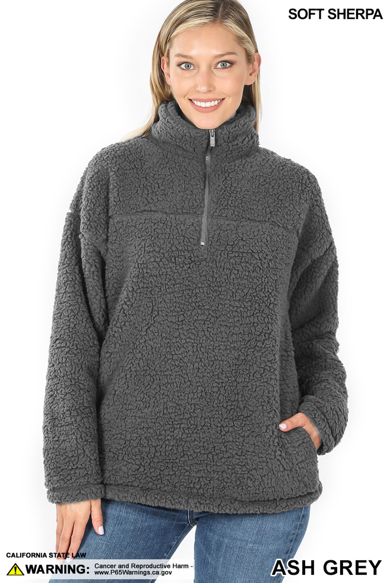 Front image of Ash Grey Sherpa Half Zip Pullover with Side Pockets