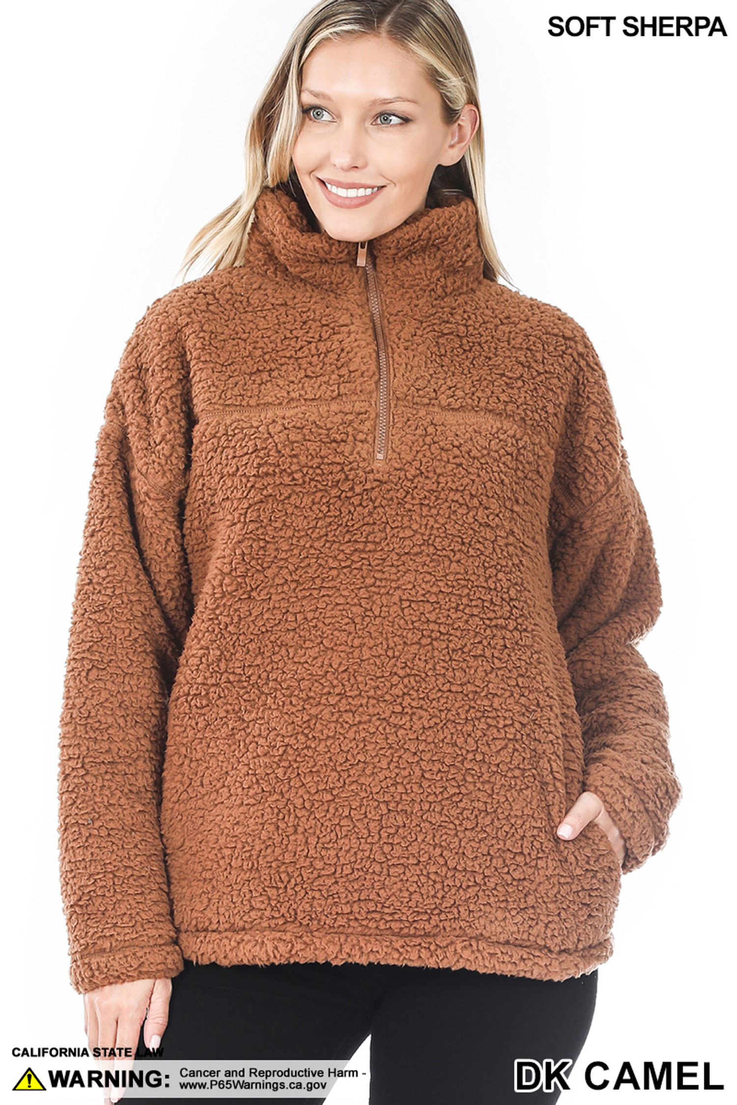 Front image of Dark Camel Sherpa Half Zip Pullover with Side Pockets