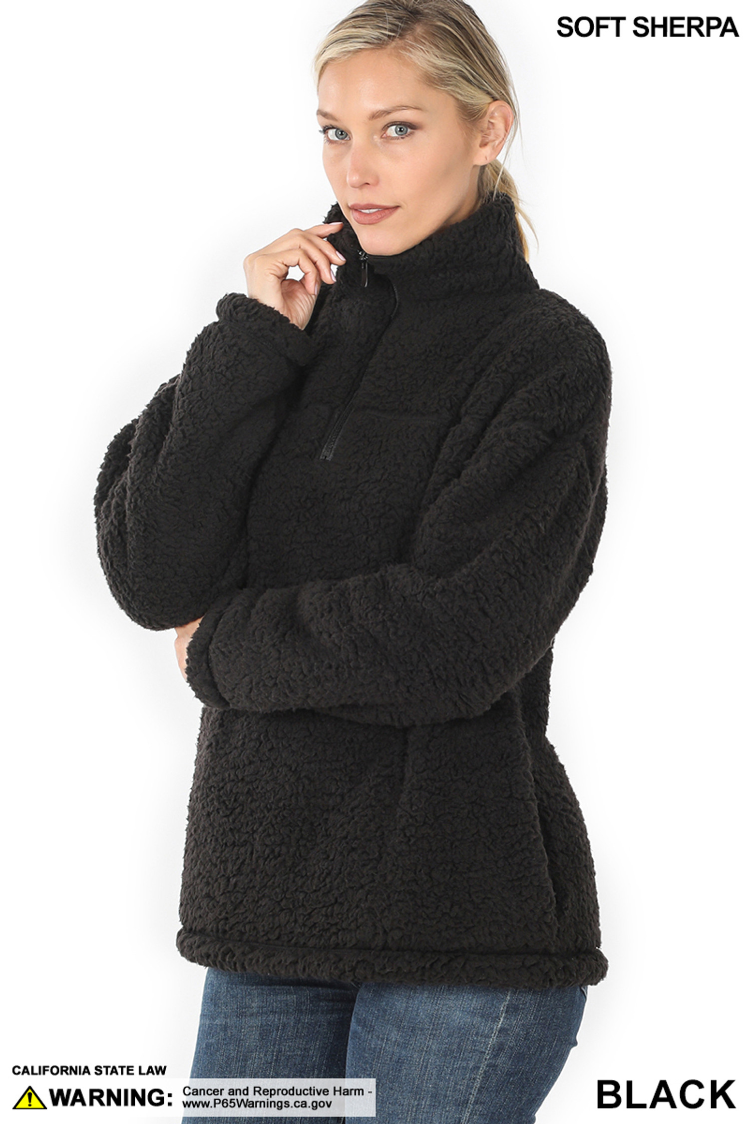 45 degree image of Black Sherpa Half Zip Pullover with Side Pockets