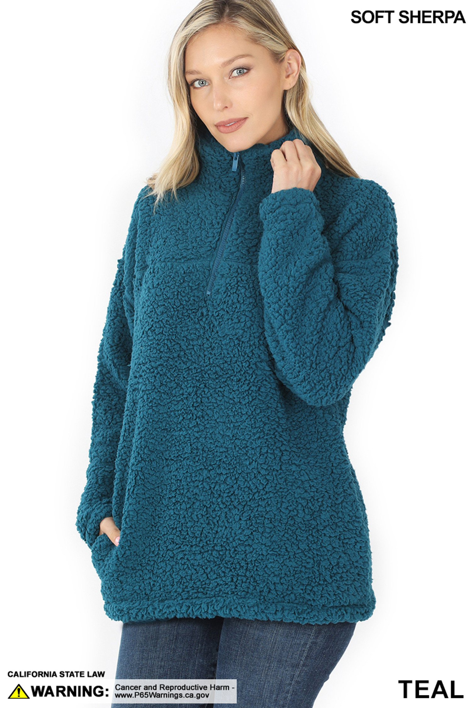 45 degree image of Teal Sherpa Half Zip Pullover with Side Pockets
