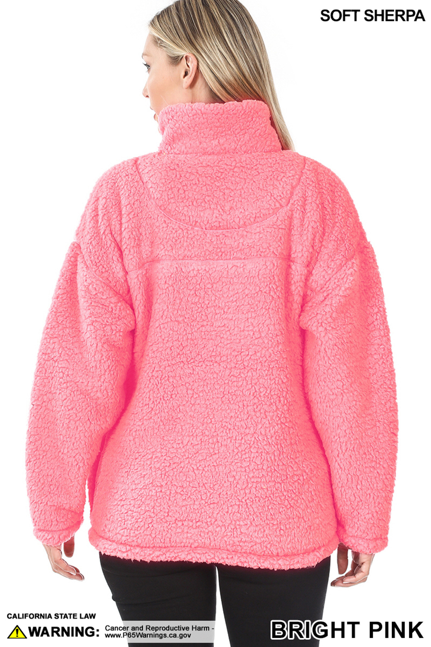 Back side image of Bright Pink Sherpa Half Zip Pullover with Side Pockets