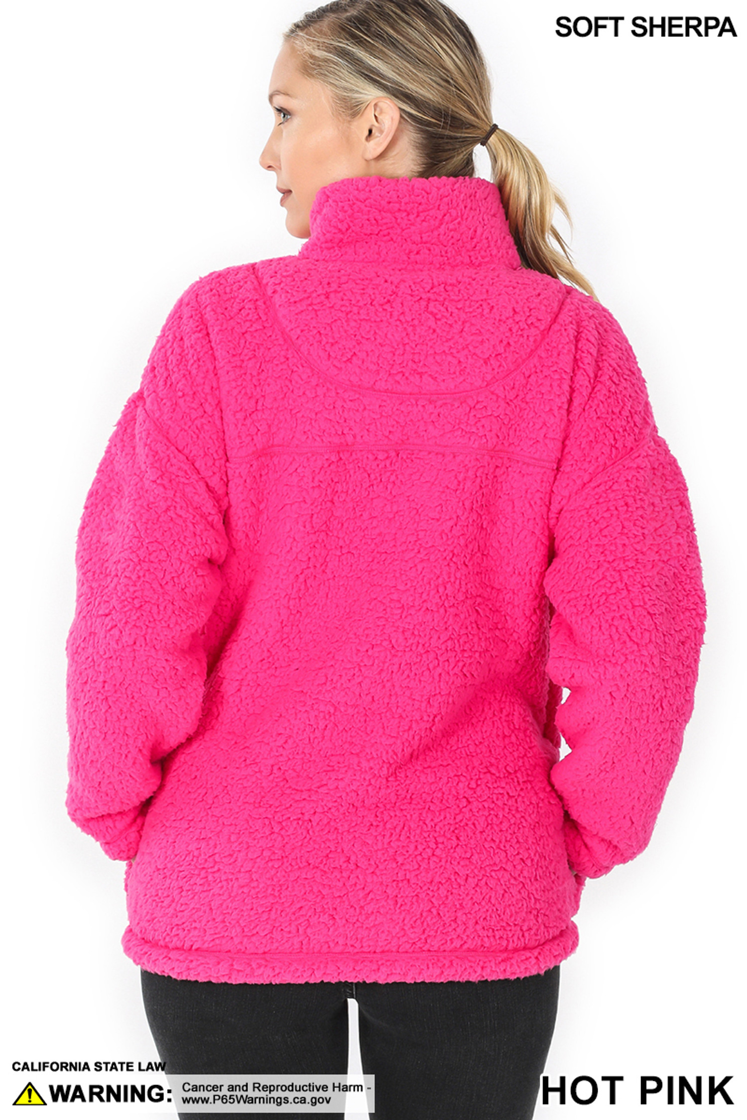 Back side image of Hot Pink Sherpa Half Zip Pullover with Side Pockets
