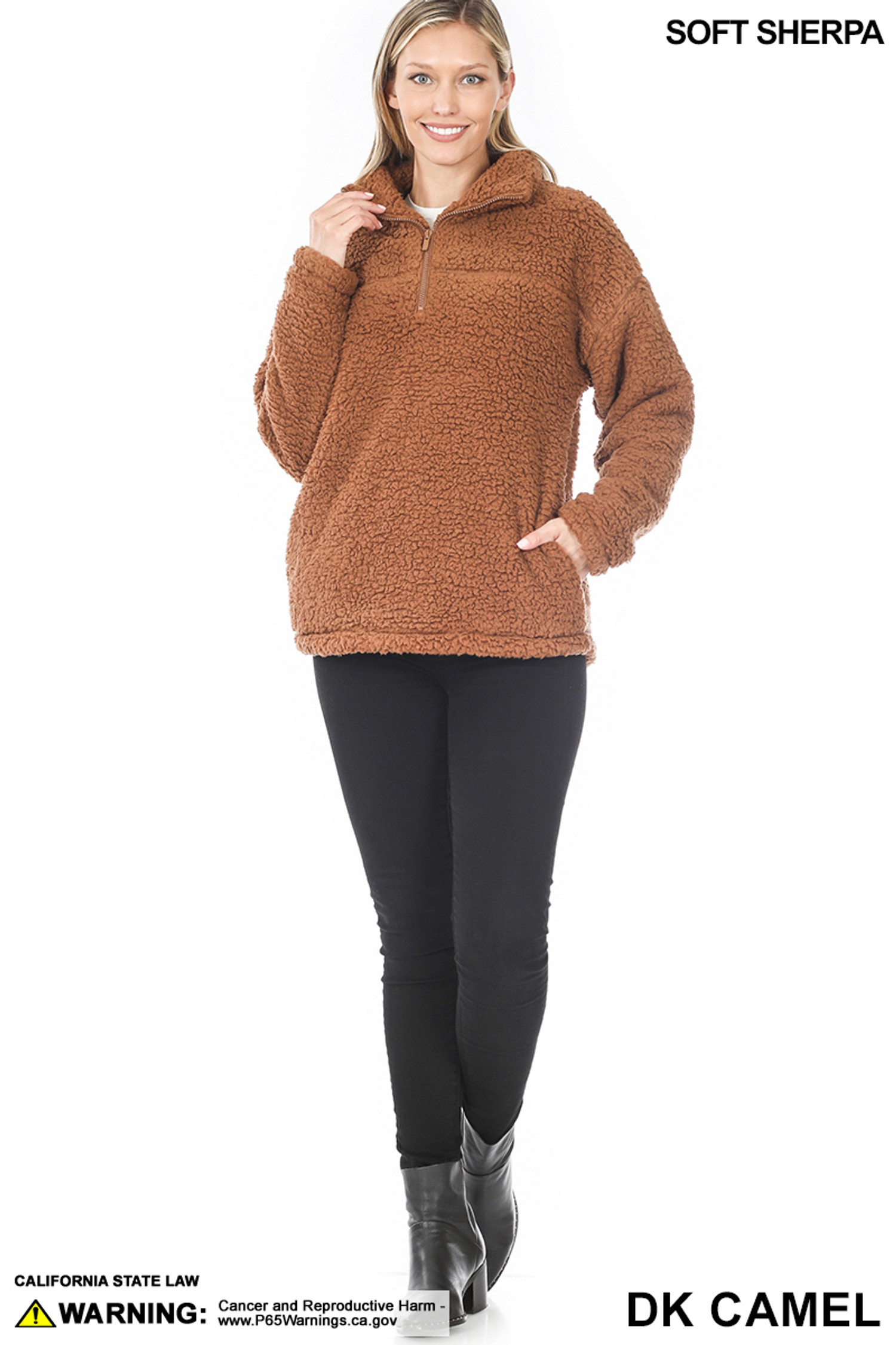 Full body image of Dark Camel Sherpa Half Zip Pullover with Side Pockets