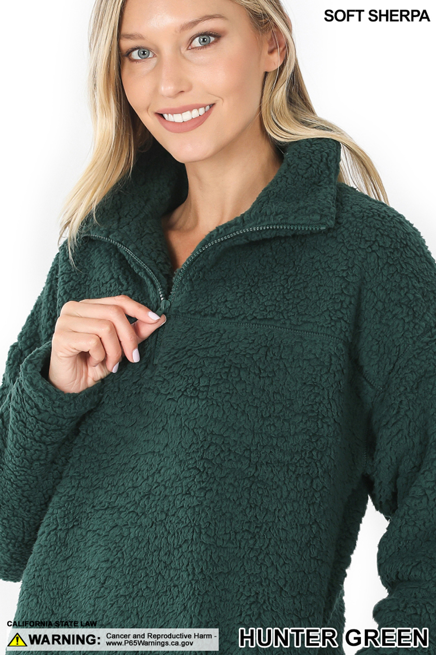 Close up image of Hunter Green Sherpa Half Zip Pullover with Side Pockets