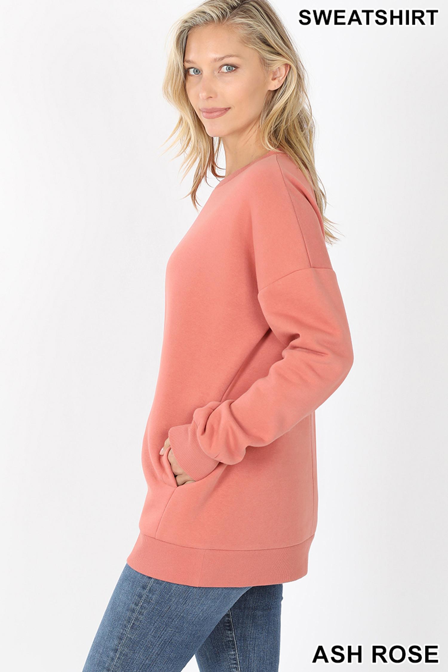 Left side image of Ash Rose Round Crew Neck Sweatshirt with Side Pockets