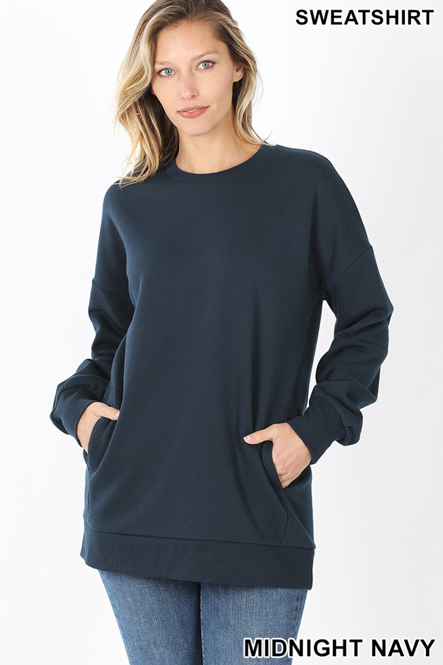 Front image of Midnight Navy Round Crew Neck Sweatshirt with Side Pockets