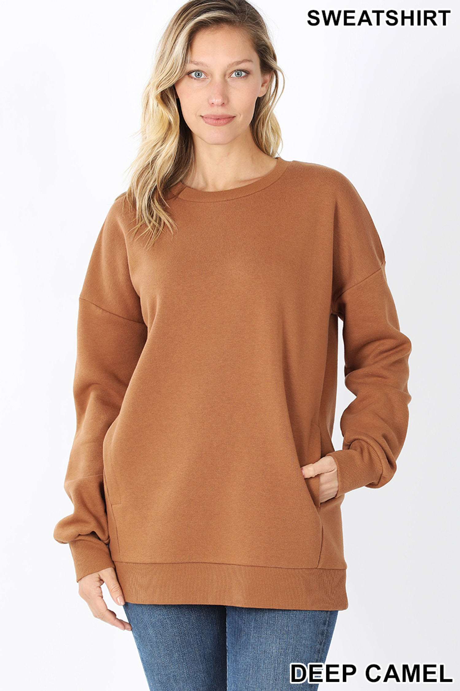 Front image of Deep Camel Round Crew Neck Sweatshirt with Side Pockets