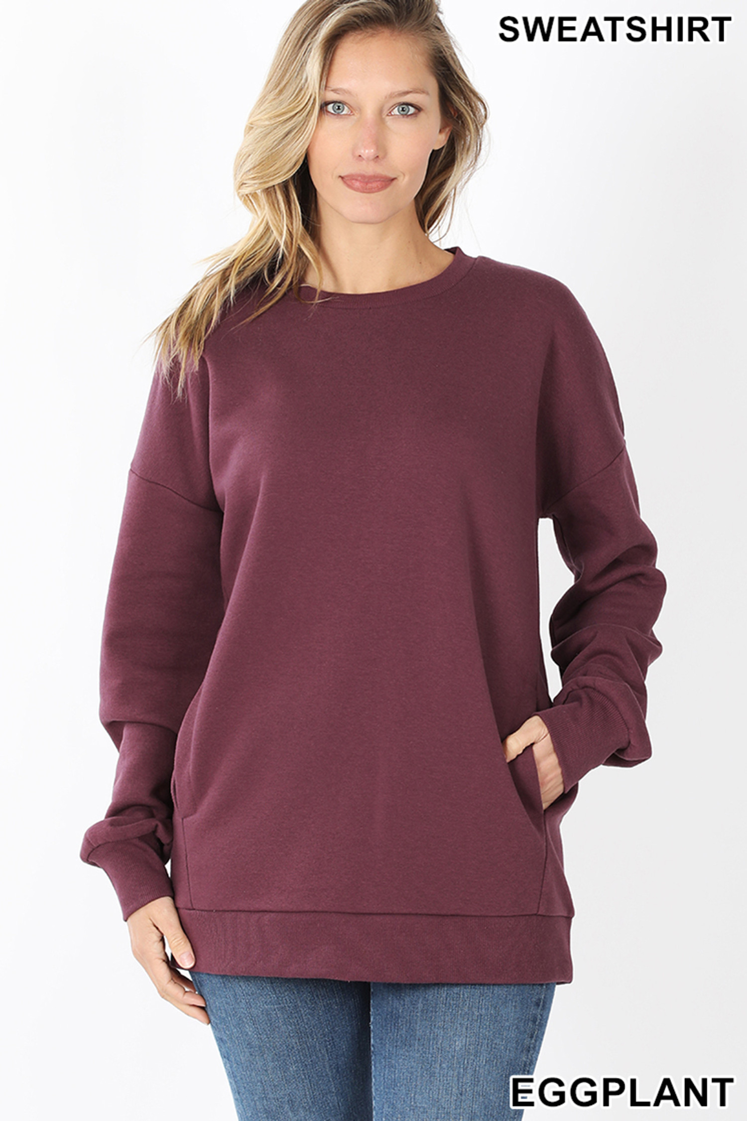 Front image of Eggplant Round Crew Neck Sweatshirt with Side Pockets