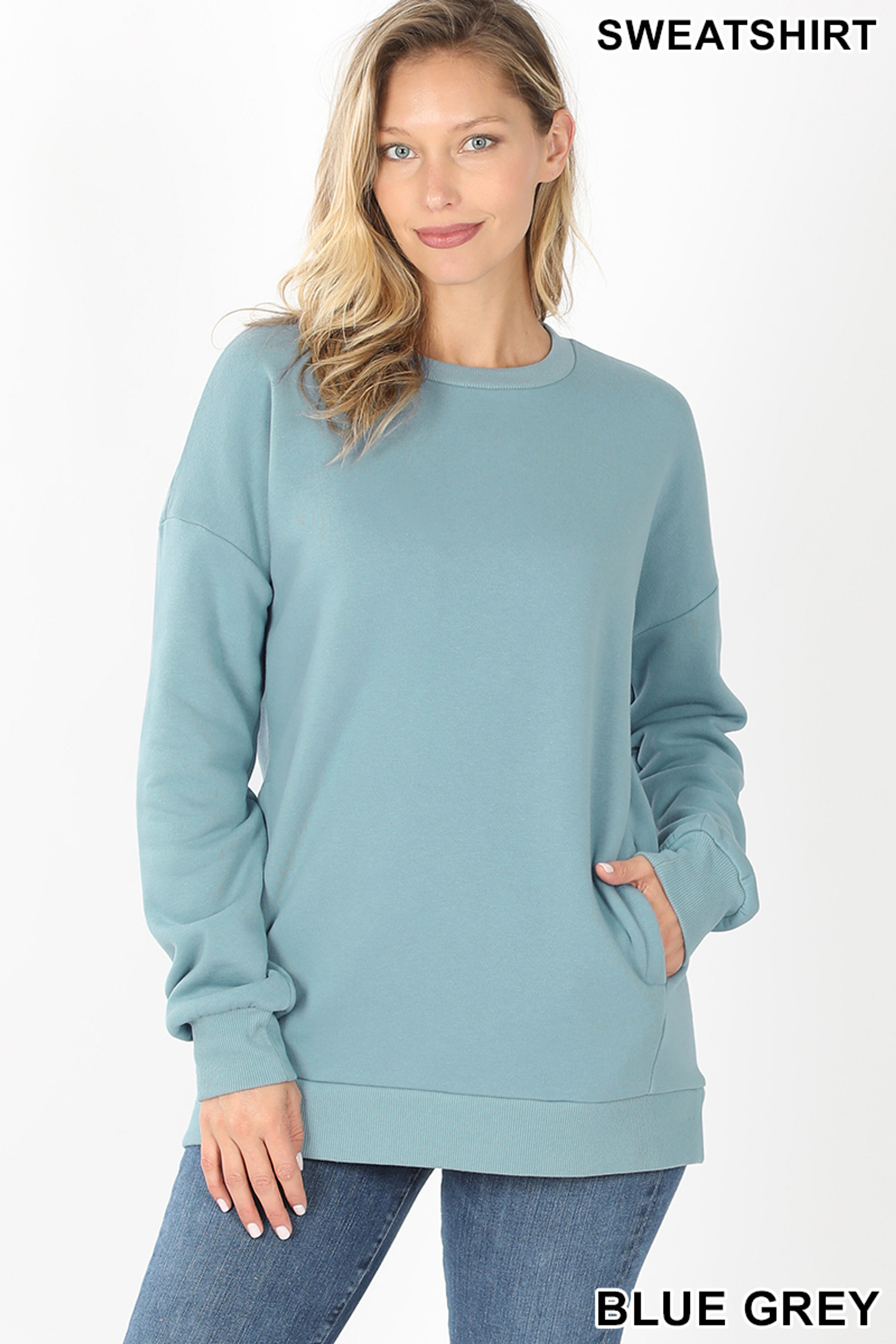 Front image of Blue Grey Round Crew Neck Sweatshirt with Side Pockets