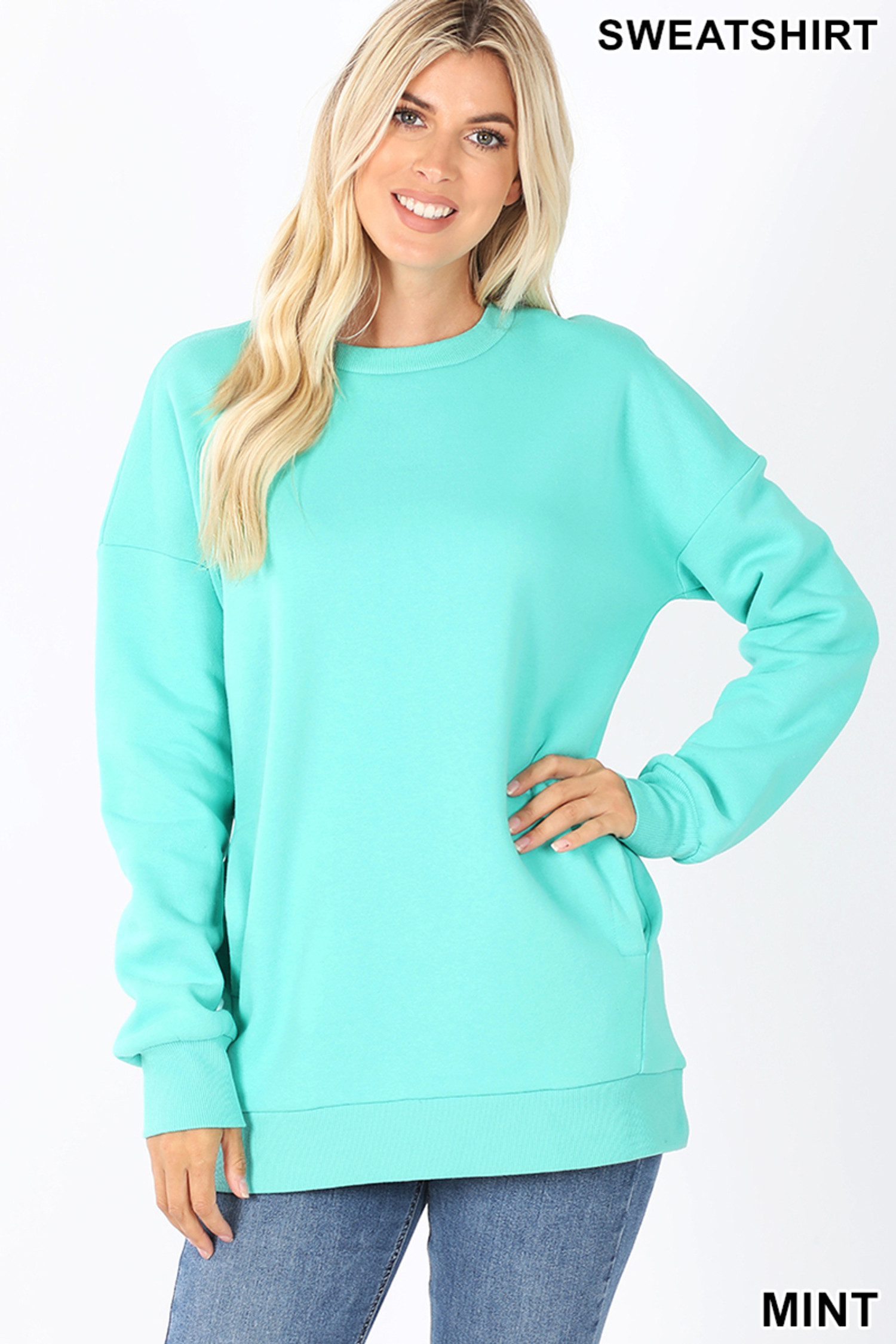 Front image of Mint Round Crew Neck Sweatshirt with Side Pockets