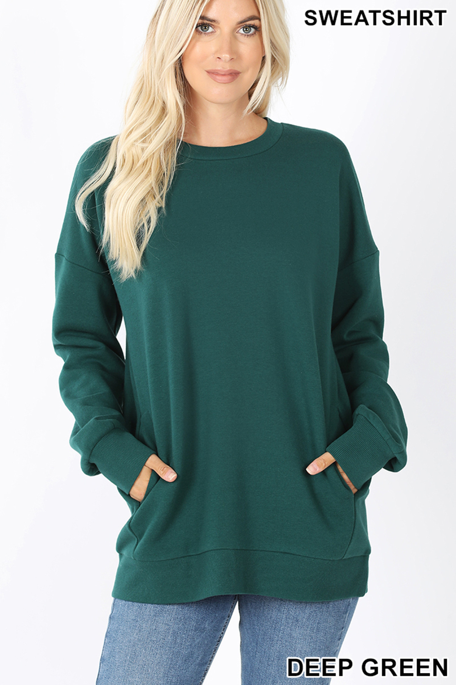Front image of Deep Green Round Crew Neck Sweatshirt with Side Pockets