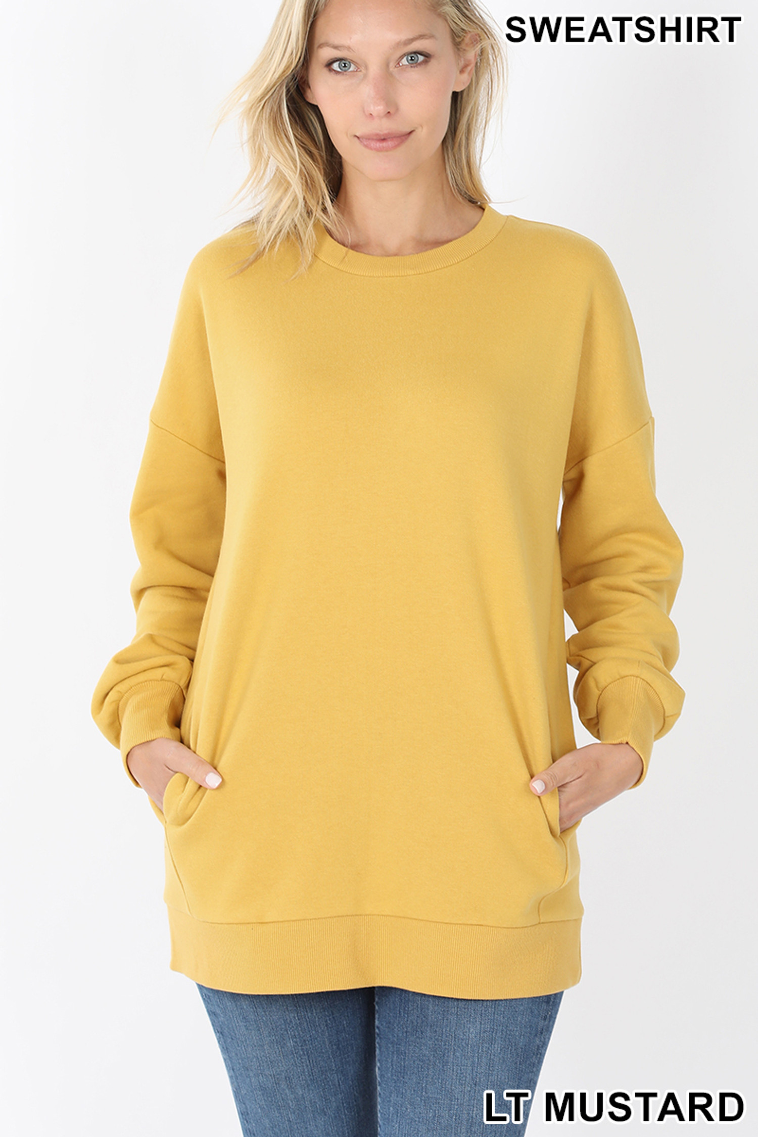 Front image of Light Mustard Round Crew Neck Sweatshirt with Side Pockets