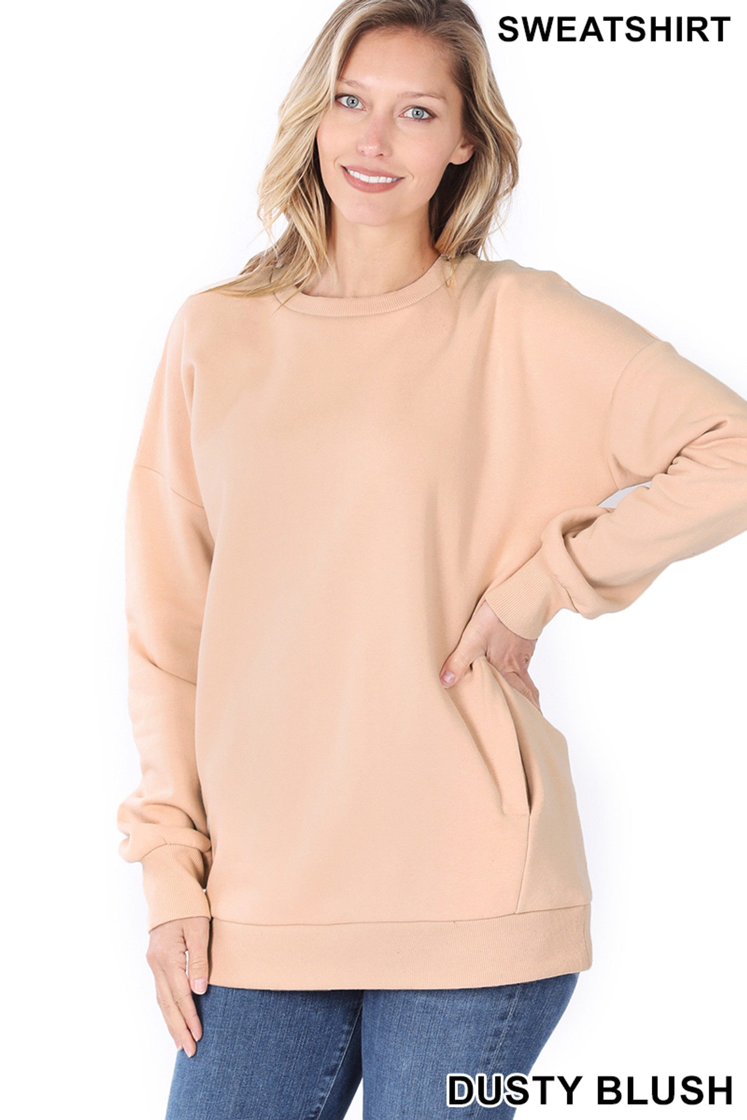 Front image of Dusty Blush Round Crew Neck Sweatshirt with Side Pockets