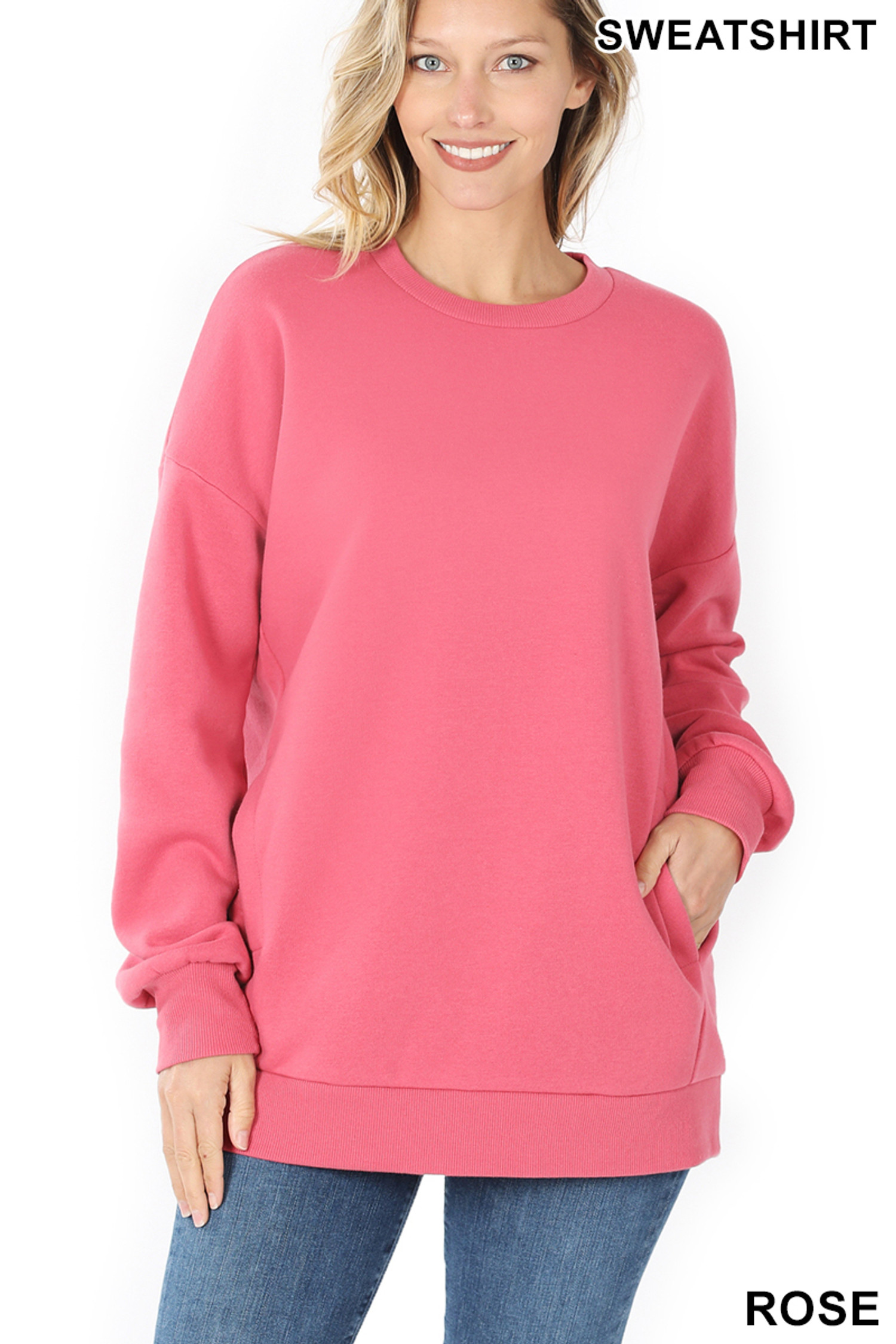 Front image of Rose Round Crew Neck Sweatshirt with Side Pockets