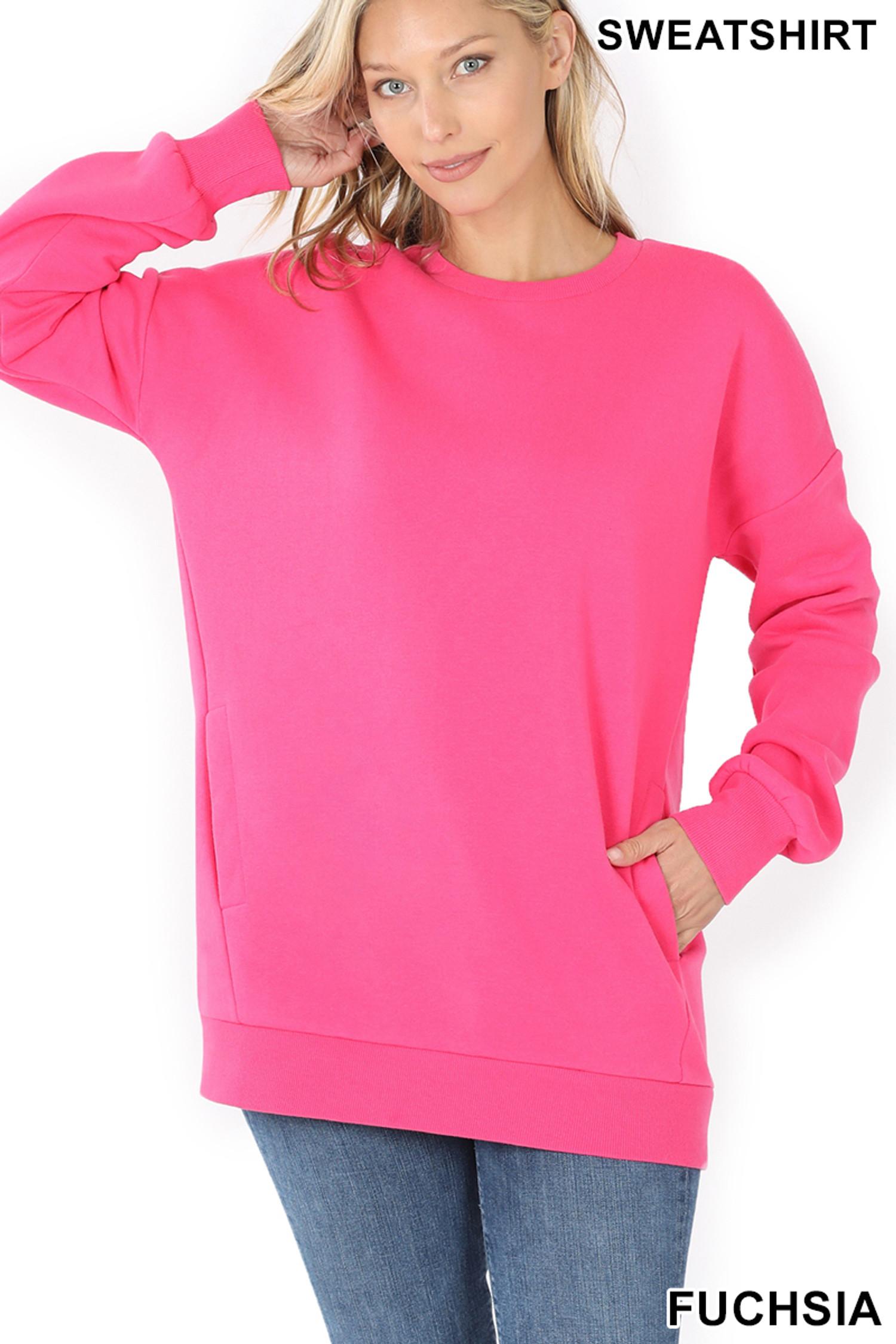 Front image of Fuchsia Round Crew Neck Sweatshirt with Side Pockets