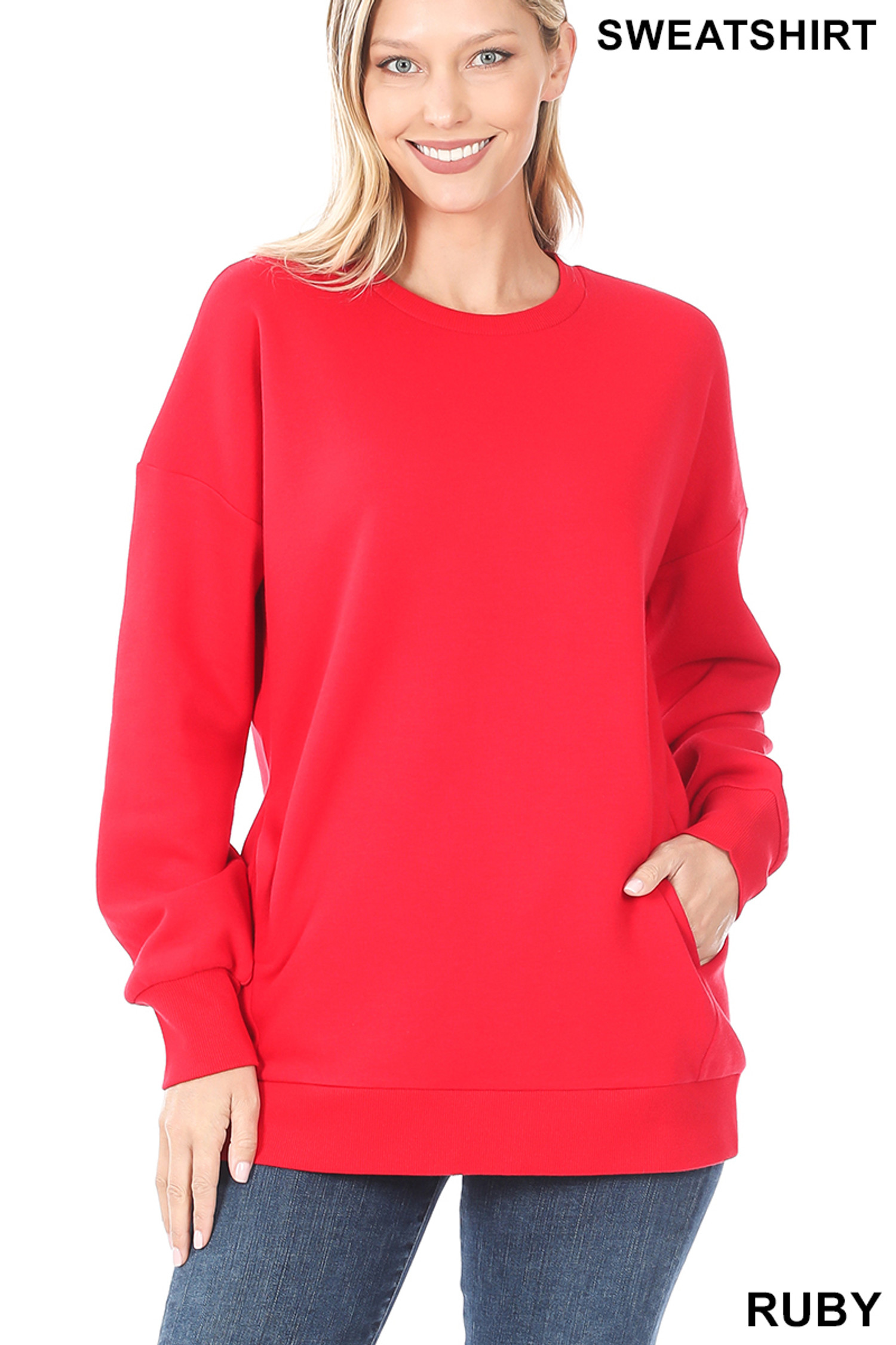 Front image of Ruby Round Crew Neck Sweatshirt with Side Pockets