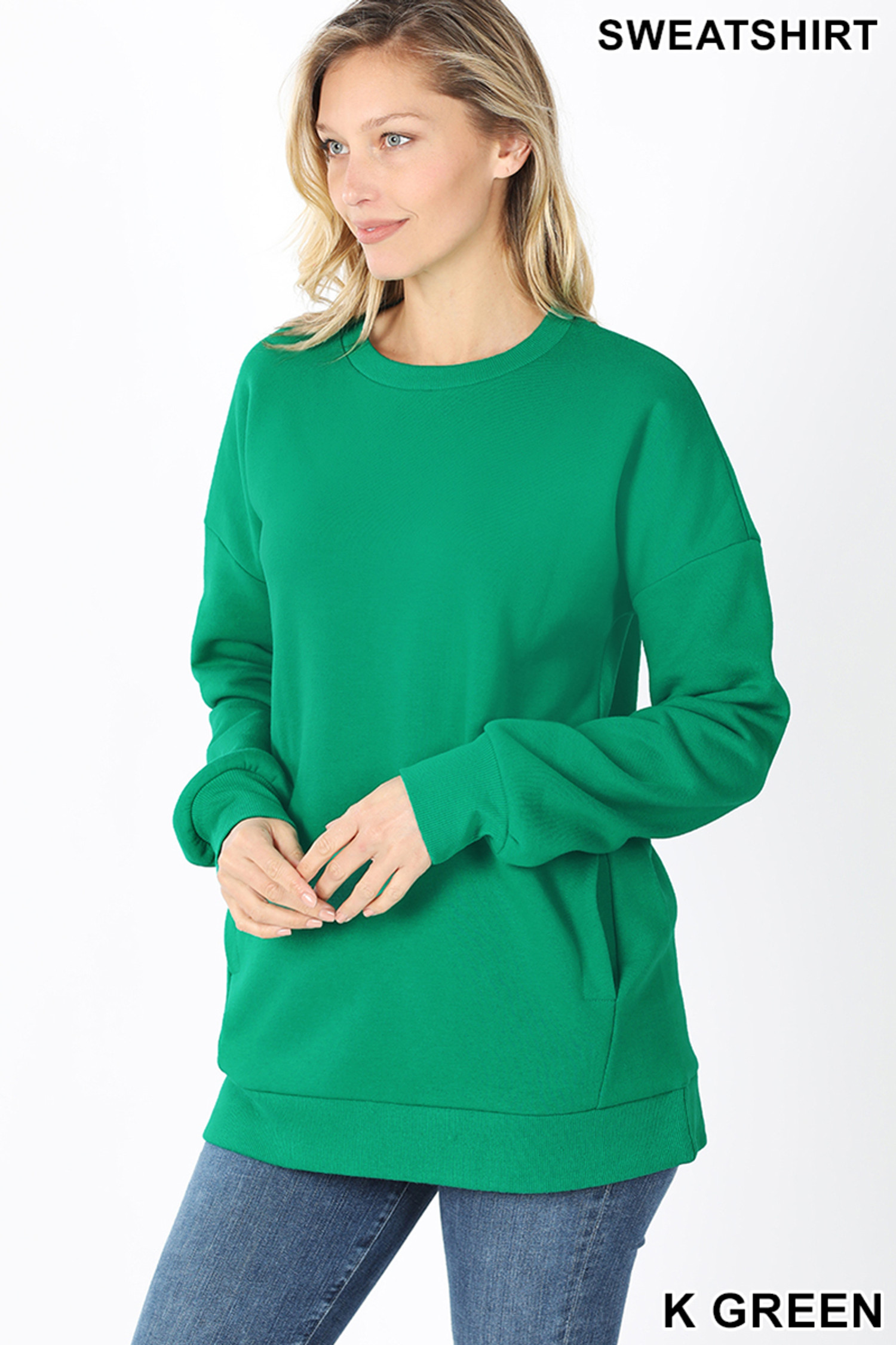 Slightly turned image of Kelly Green Round Crew Neck Sweatshirt with Side Pockets