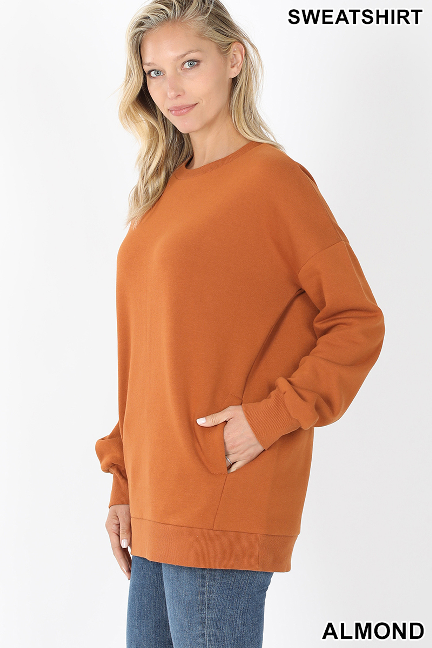 Left side image of Almond Round Crew Neck Sweatshirt with Side Pockets