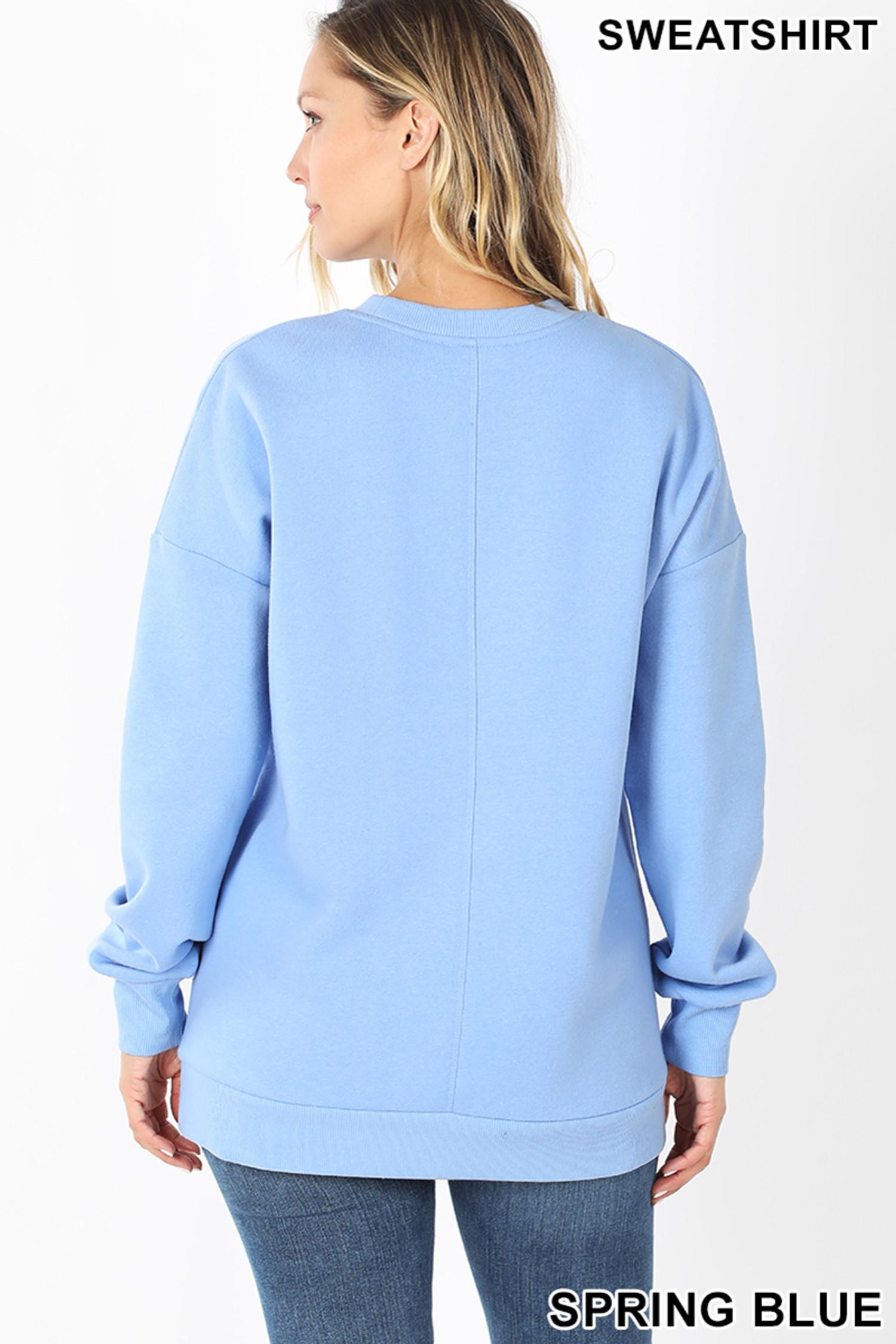 Round Crew Neck Sweatshirt with Side Pockets