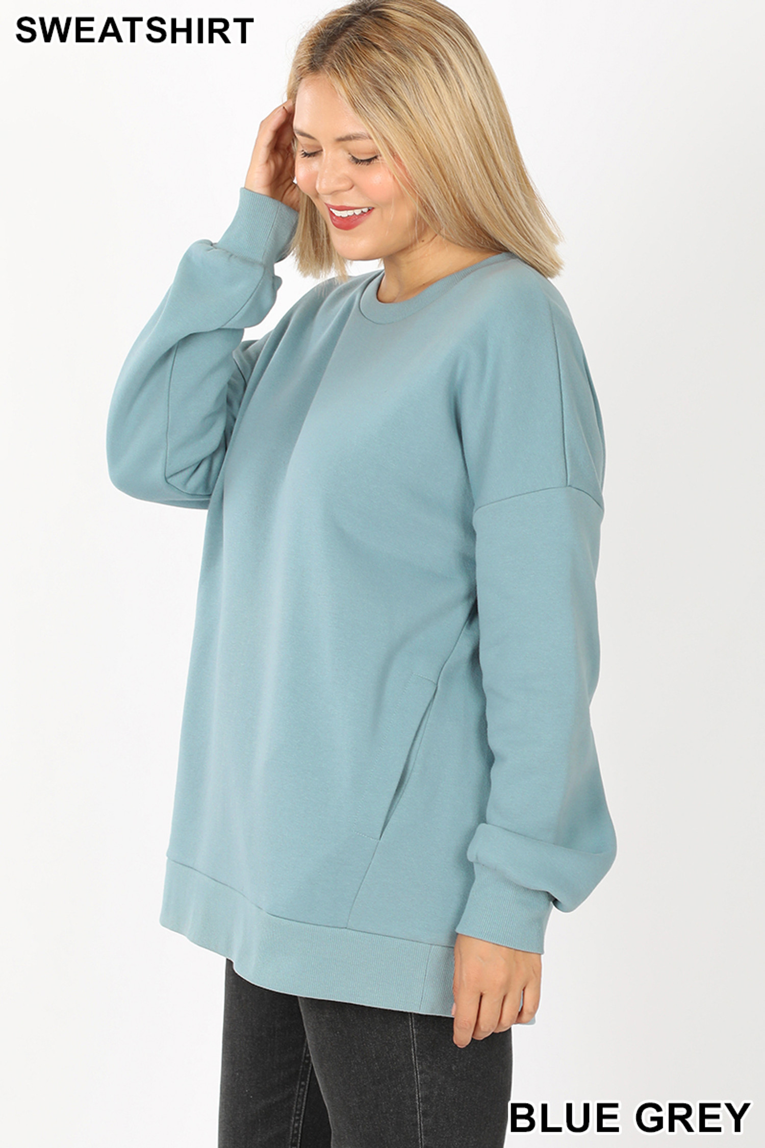 Left side image of Blue Grey Cotton Round Crew Neck Plus Size Sweatshirt with Side Pockets