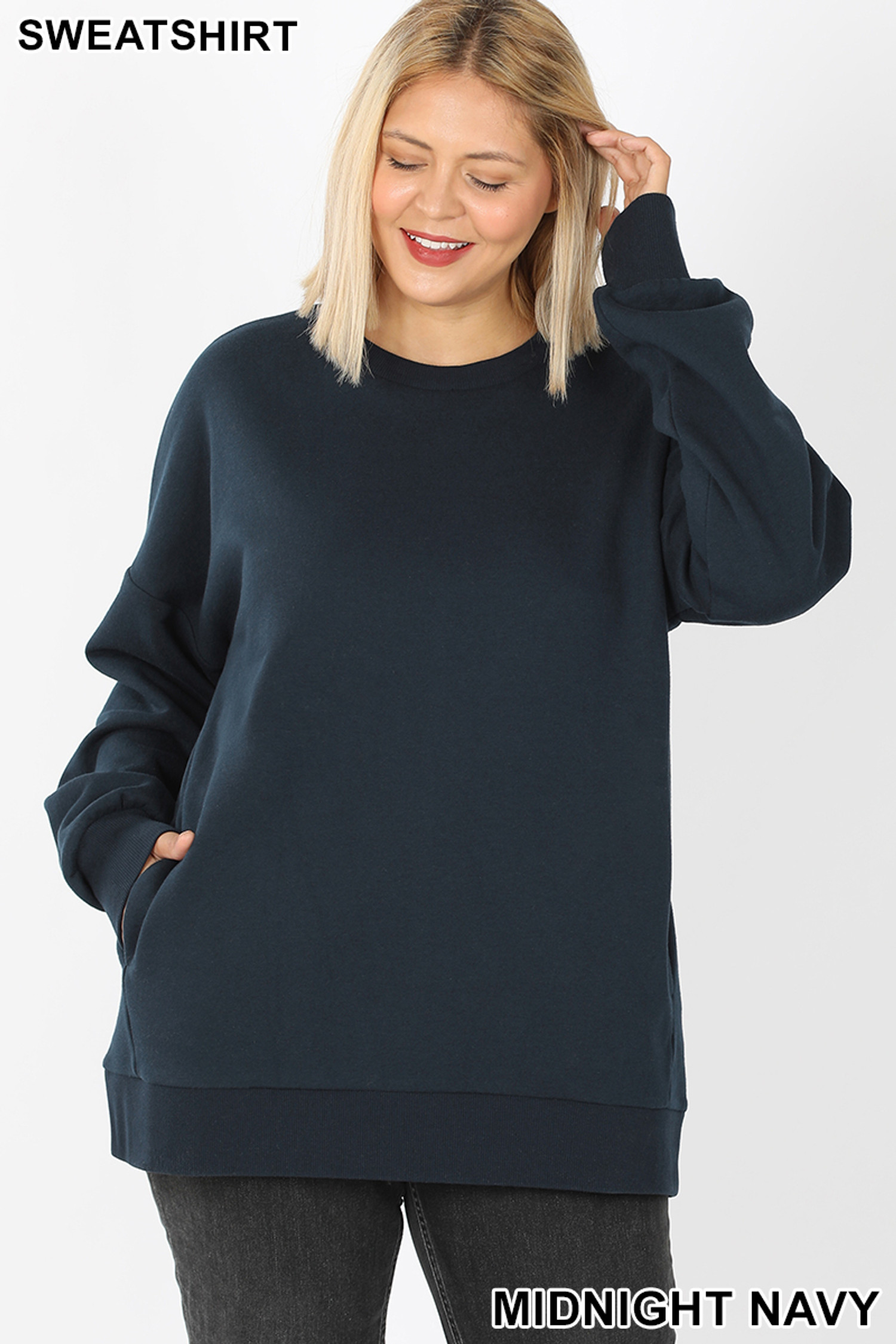 Front image of Midnight Navy Cotton Round Crew Neck Plus Size Sweatshirt with Side Pockets