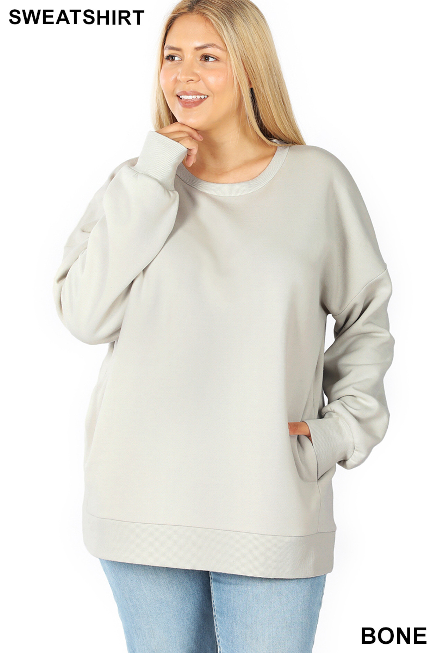 Front image of Bone  Cotton Round Crew Neck Plus Size Sweatshirt with Side Pockets