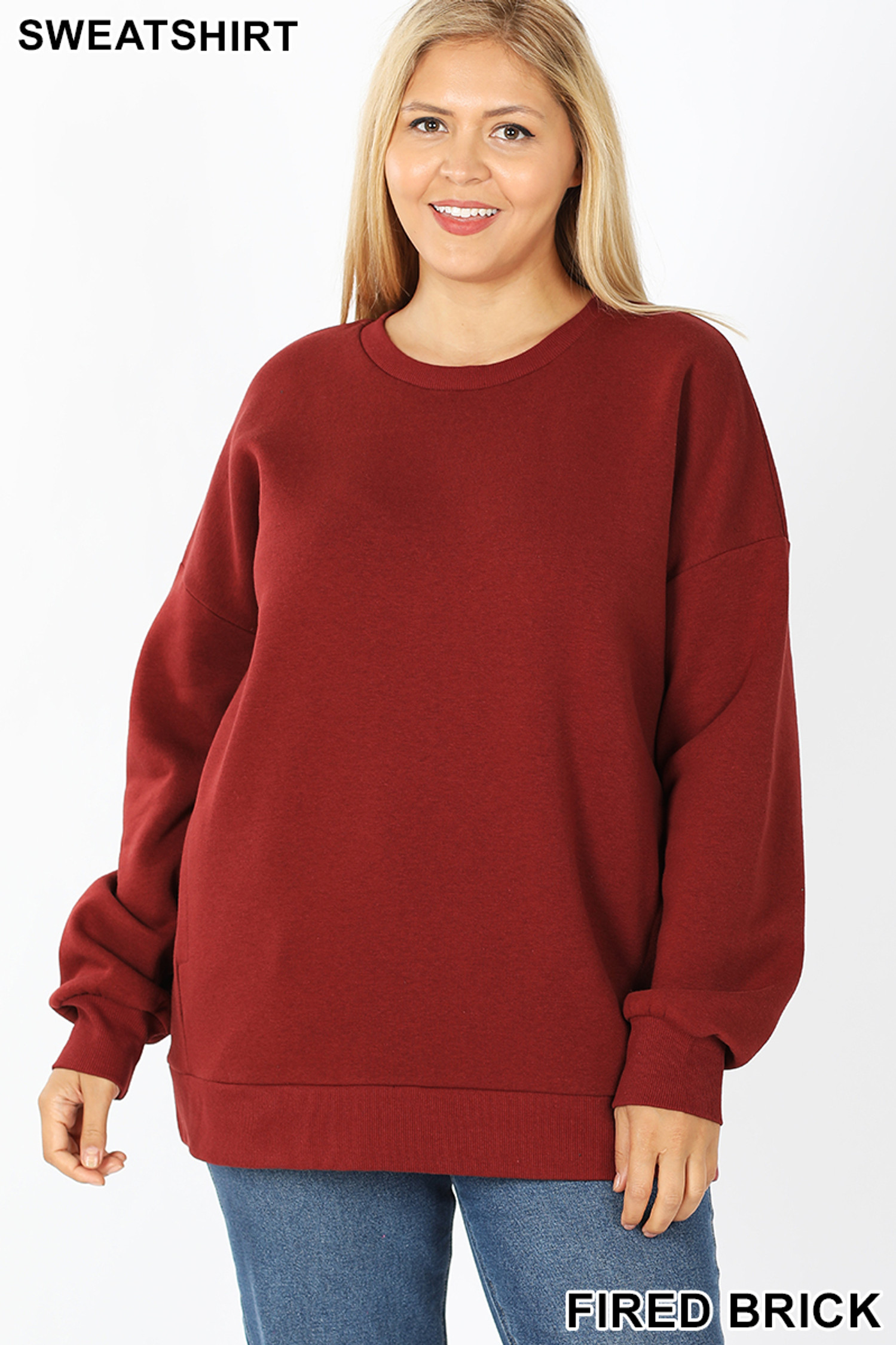 Front image of Fired Brick Cotton Round Crew Neck Plus Size Sweatshirt with Side Pockets
