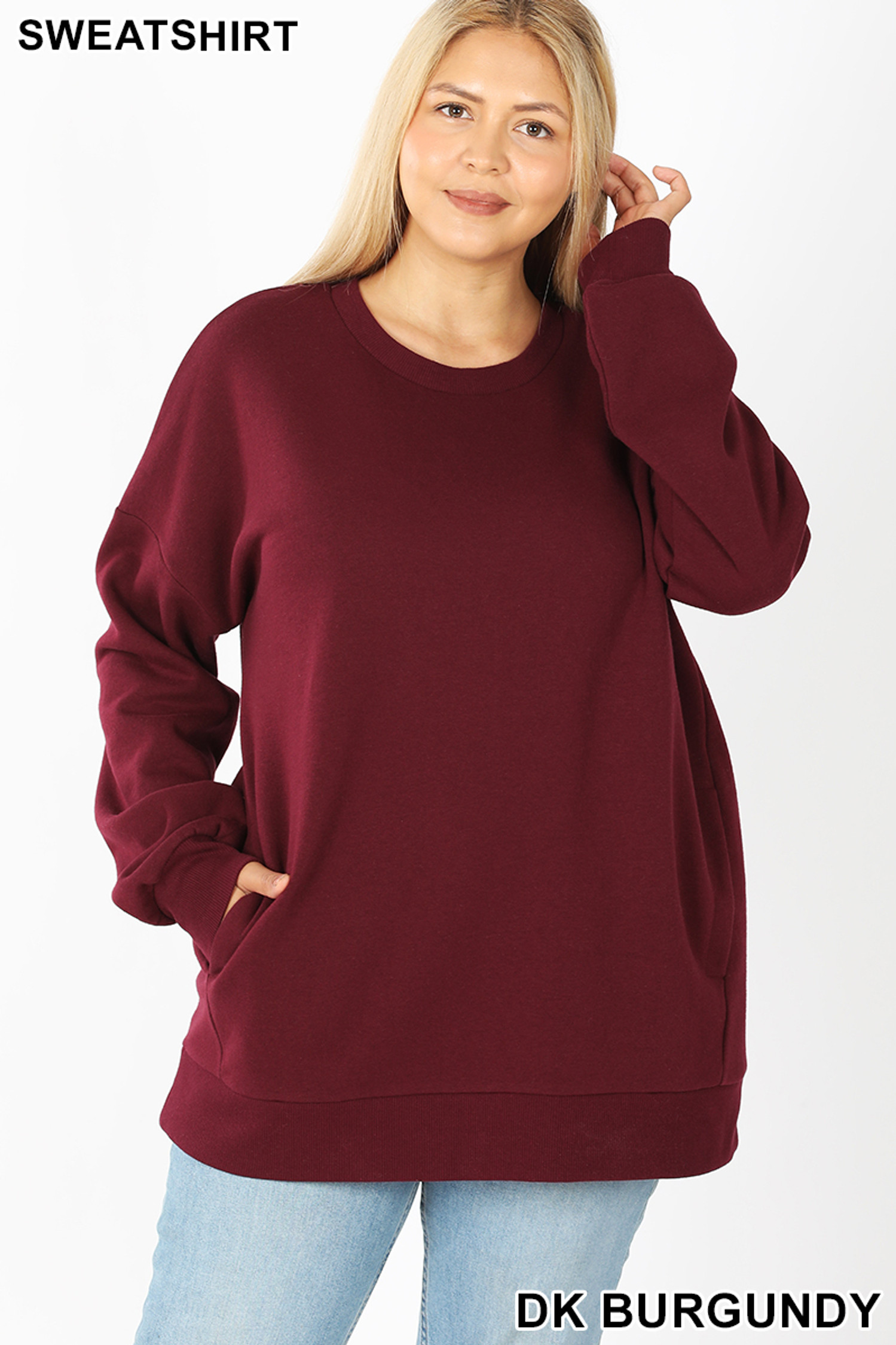 Front image of Dark Burgundy Cotton Round Crew Neck Plus Size Sweatshirt with Side Pockets