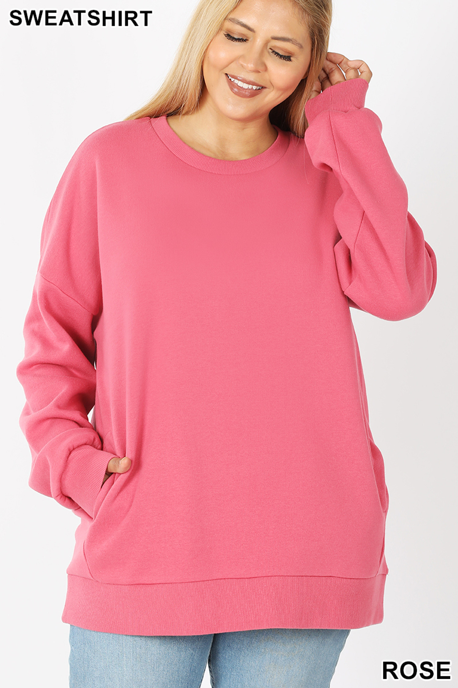 Front image of Rose Cotton Round Crew Neck Plus Size Sweatshirt with Side Pockets