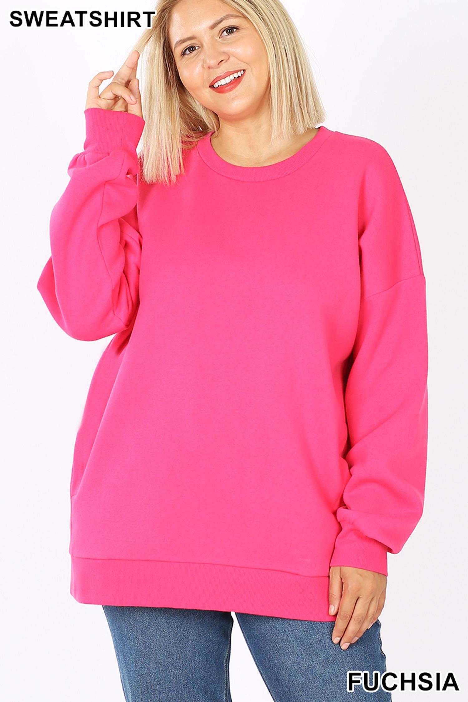 Front image of Fuchsia Cotton Round Crew Neck Plus Size Sweatshirt with Side Pockets