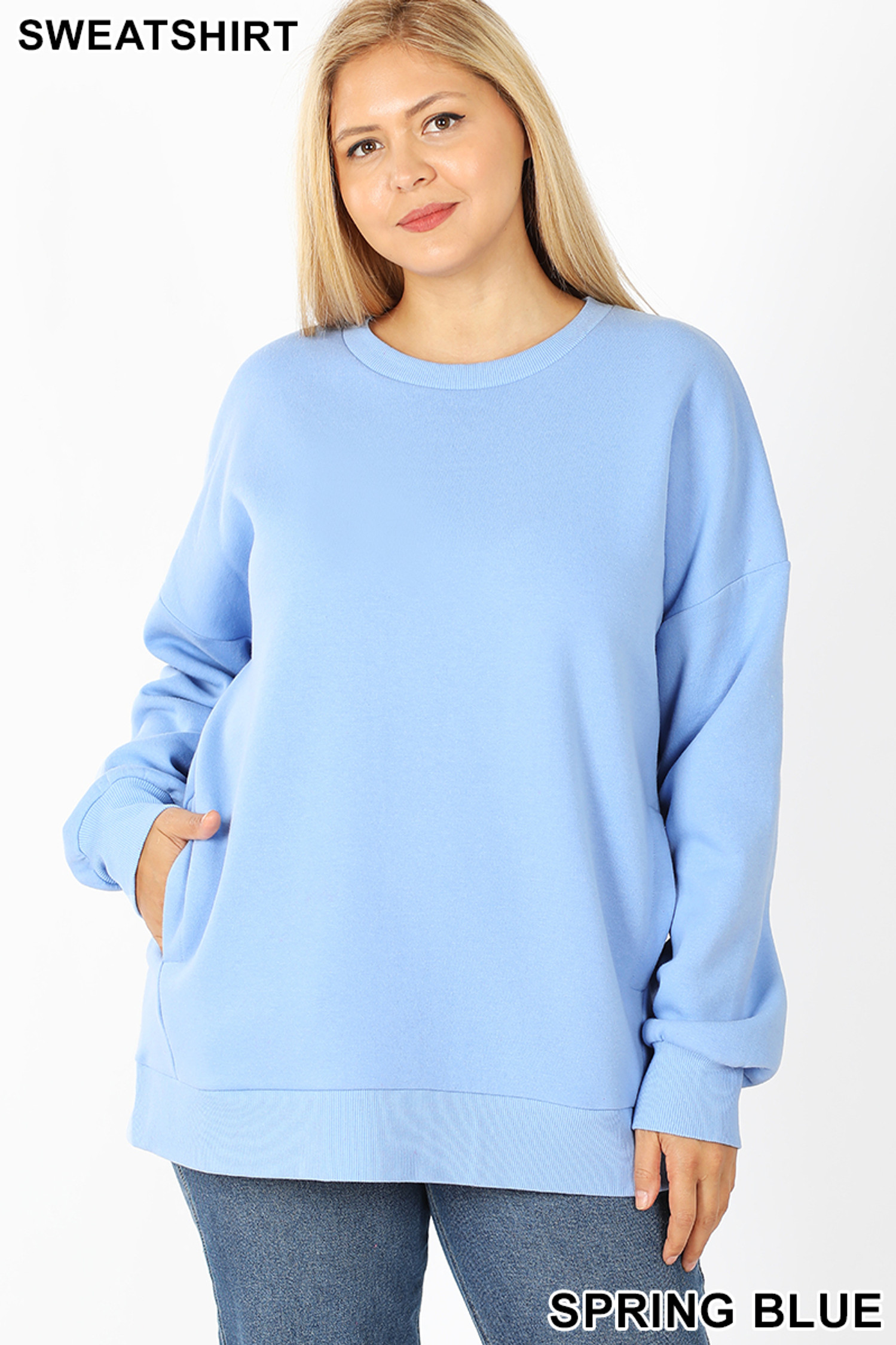 Front image of Spring Blue Cotton Round Crew Neck Plus Size Sweatshirt with Side Pockets