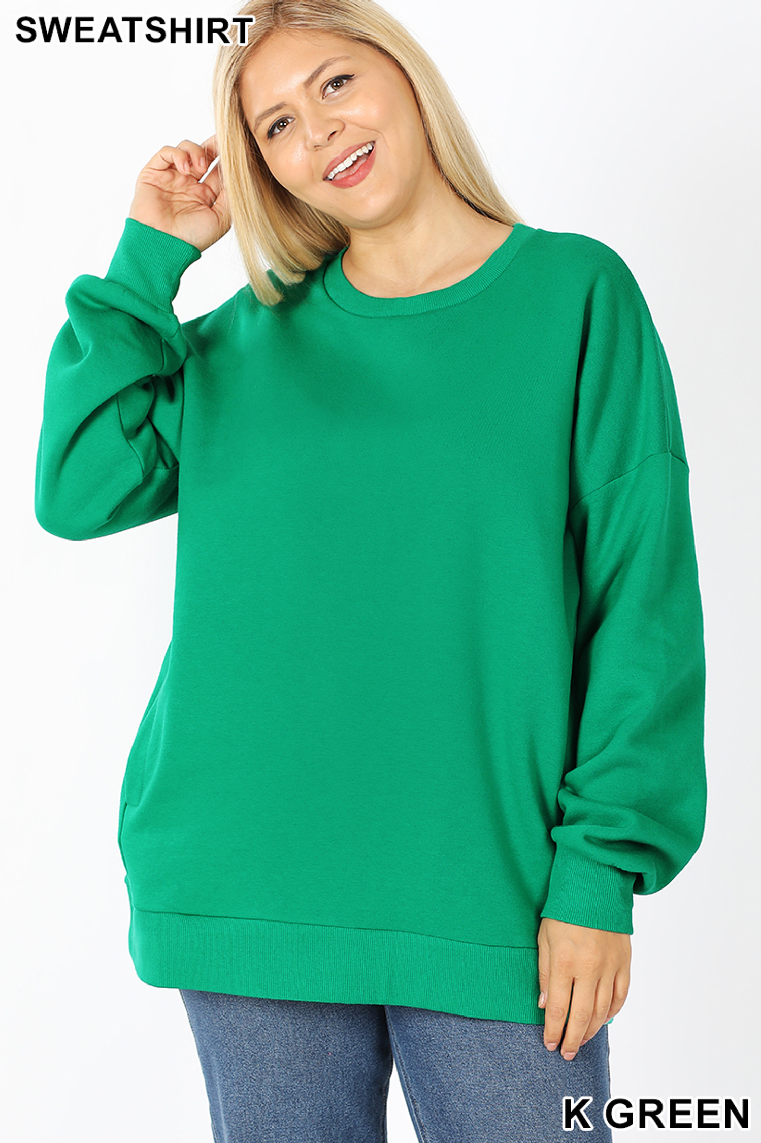Front image of Kelly Green Cotton Round Crew Neck Plus Size Sweatshirt with Side Pockets