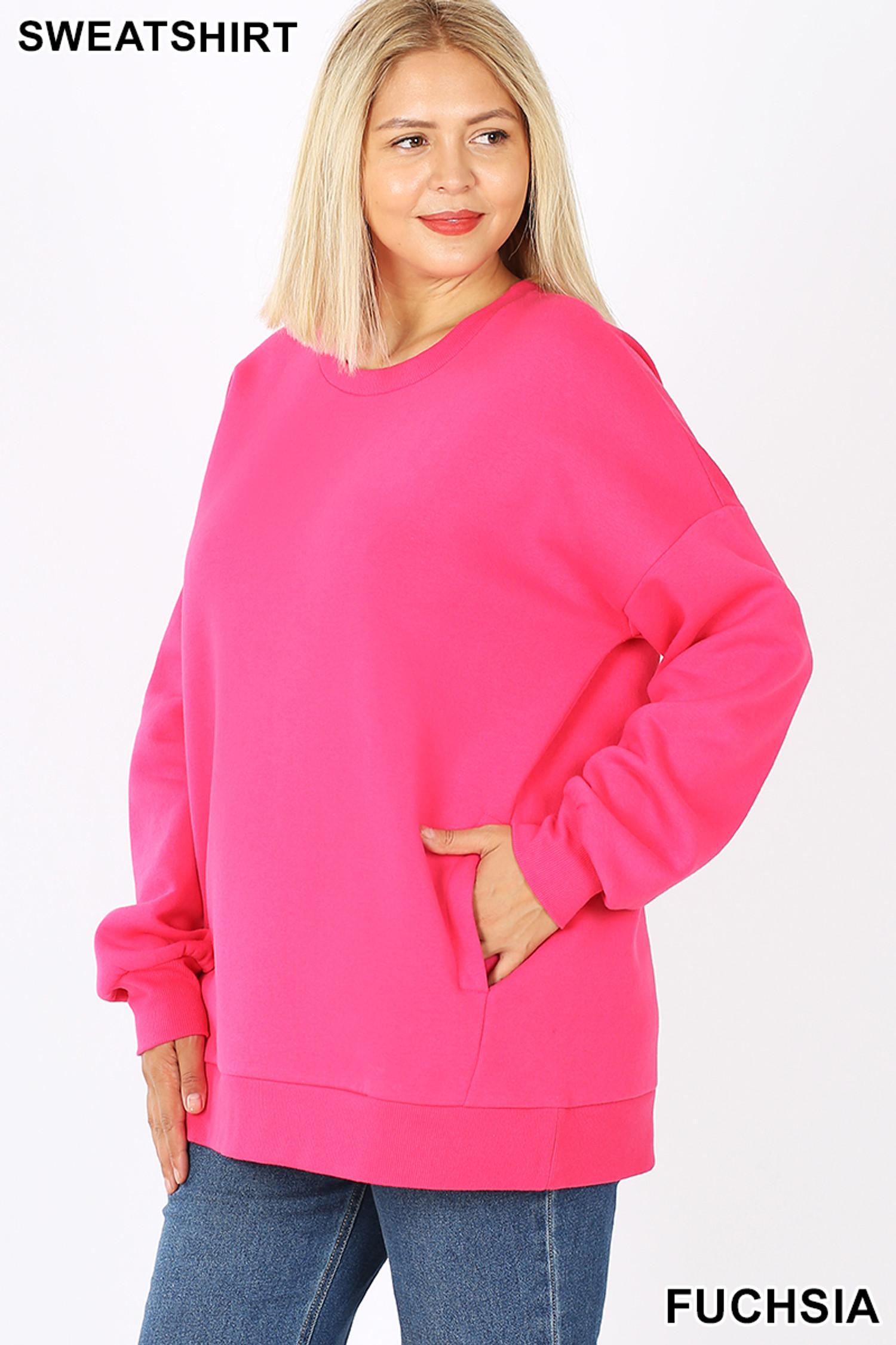 Slightly turned image of Fuchsia Cotton Round Crew Neck Plus Size Sweatshirt with Side Pockets