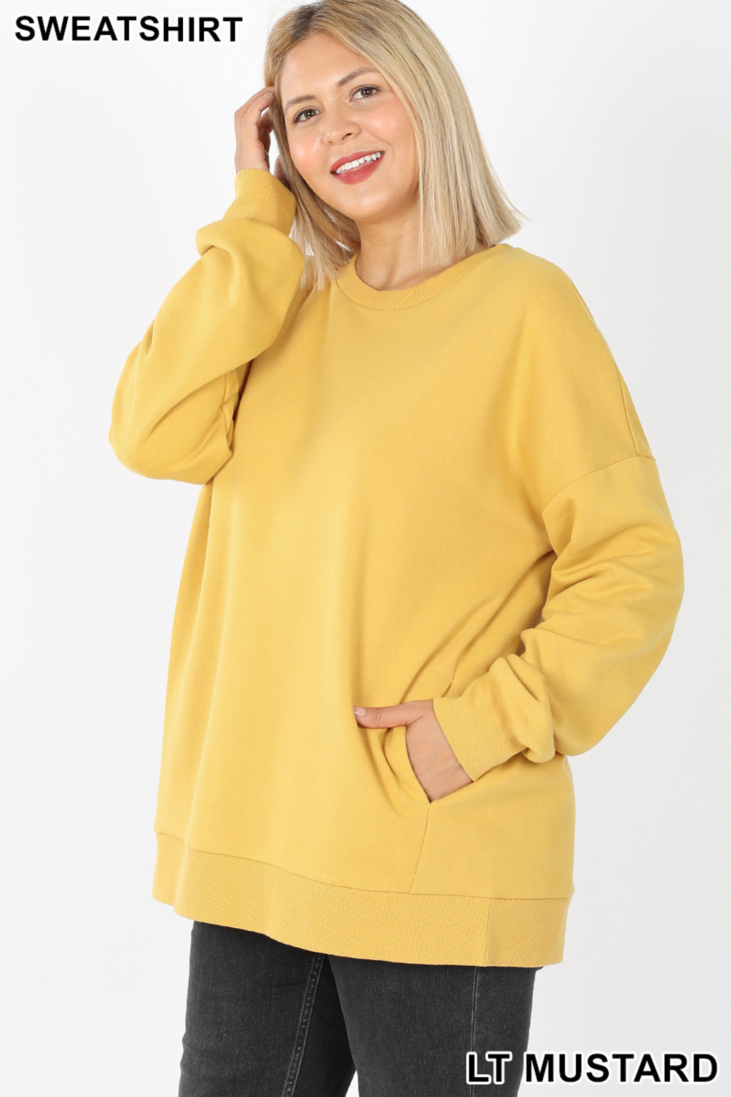 45 degree image of  Light Mustard Cotton Round Crew Neck Plus Size Sweatshirt with Side Pockets