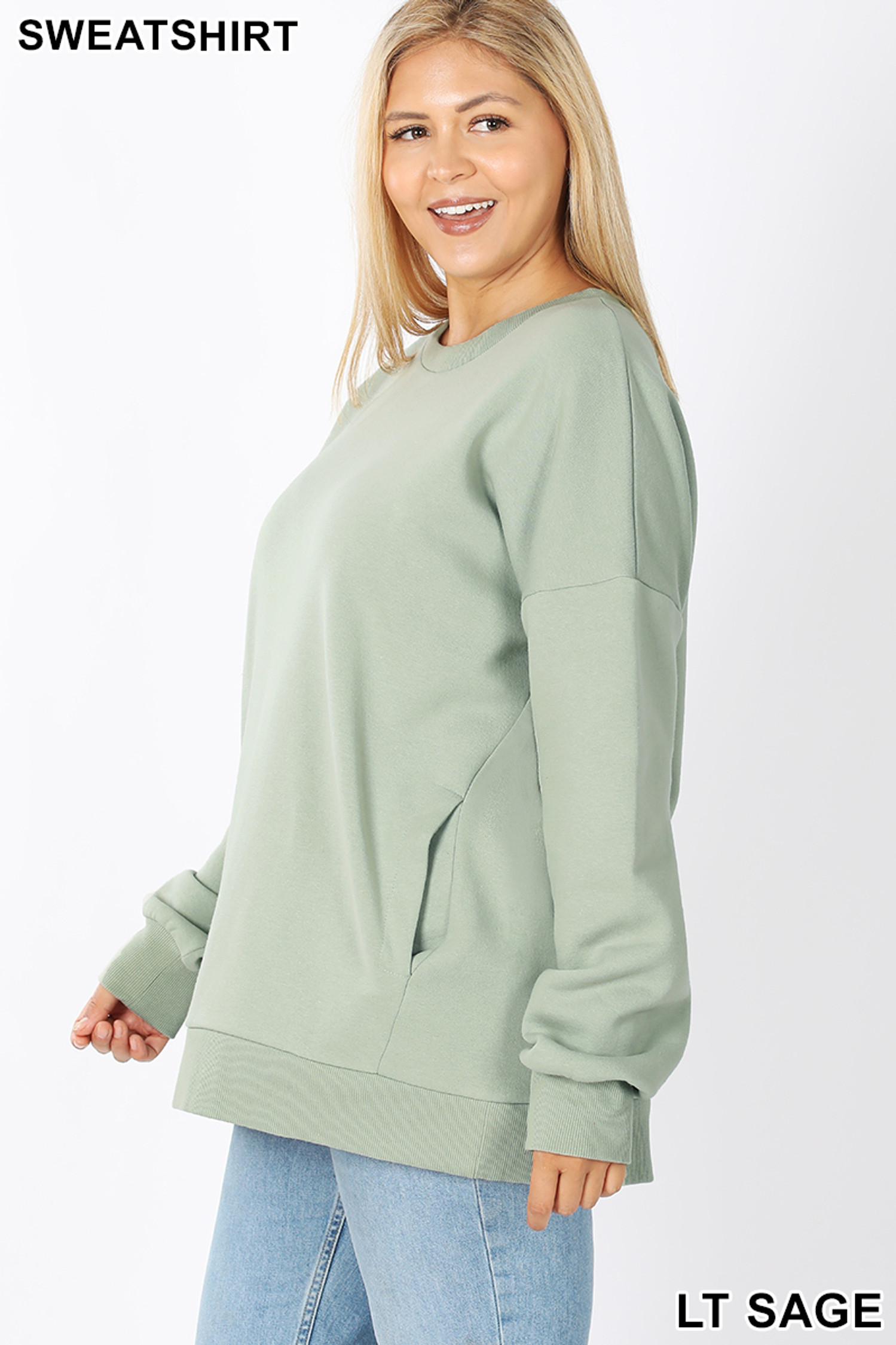 Left side image of Light Green Cotton Round Crew Neck Plus Size Sweatshirt with Side Pockets