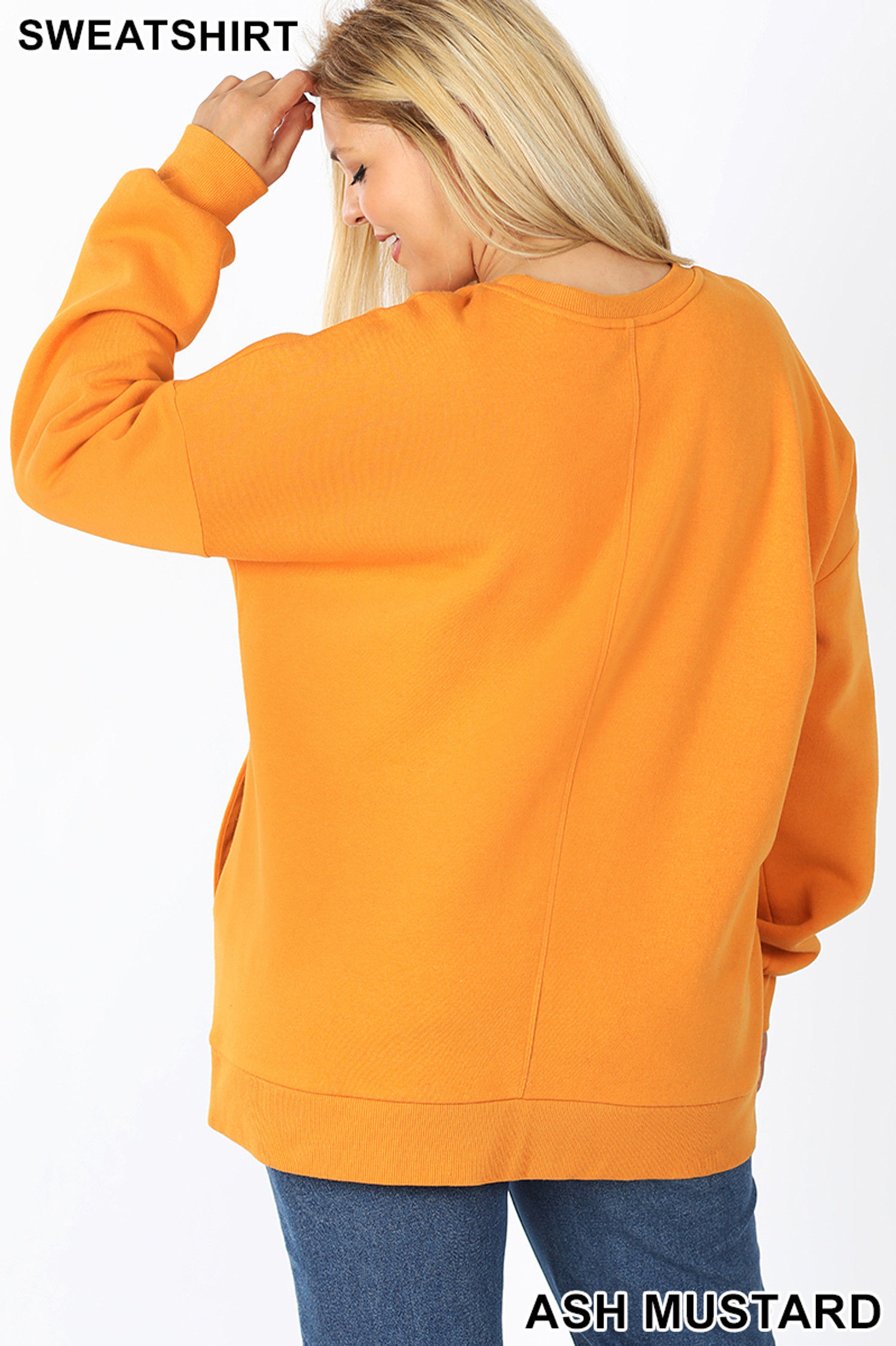 Back image of Ash Mustard Cotton Round Crew Neck Plus Size Sweatshirt with Side Pockets
