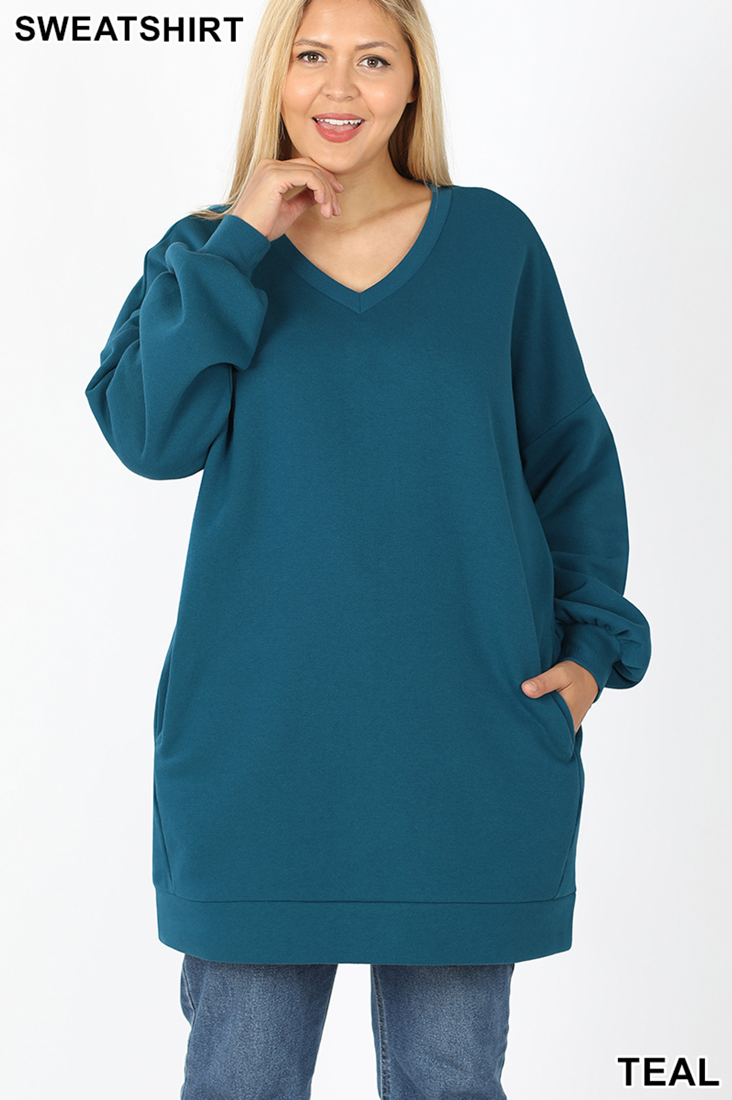Front image of Teal Oversized V-Neck Longline Plus Size Sweatshirt with Pockets