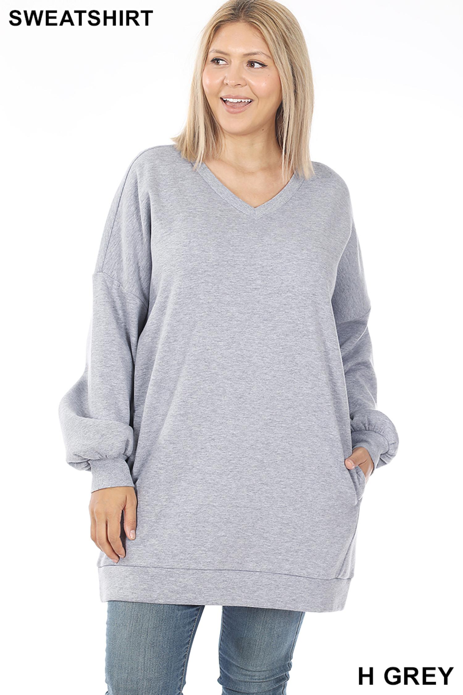 Front image of Heather Grey Black Oversized V-Neck Longline Plus Size Sweatshirt with Pockets